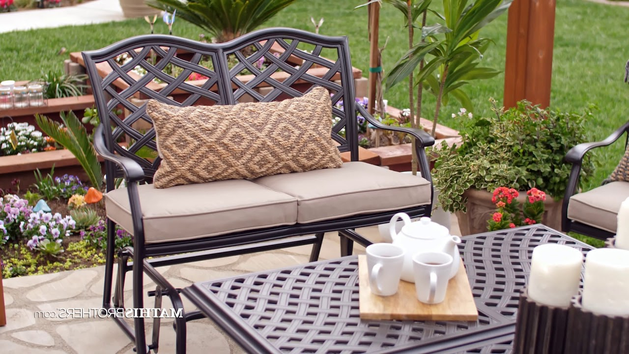 Fashionable Aluminum Glider Benches With Cushion Intended For Cast Aluminum Bench Glider In Brown (View 15 of 30)