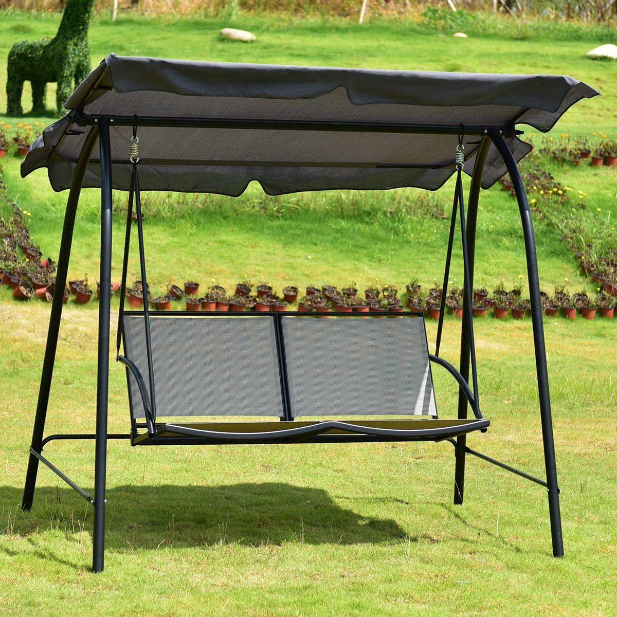 Fashionable Amazon : Cretamarket Outdoor Loveseat Patio Canopy Swing With 2 Person Gray Steel Outdoor Swings (View 23 of 30)