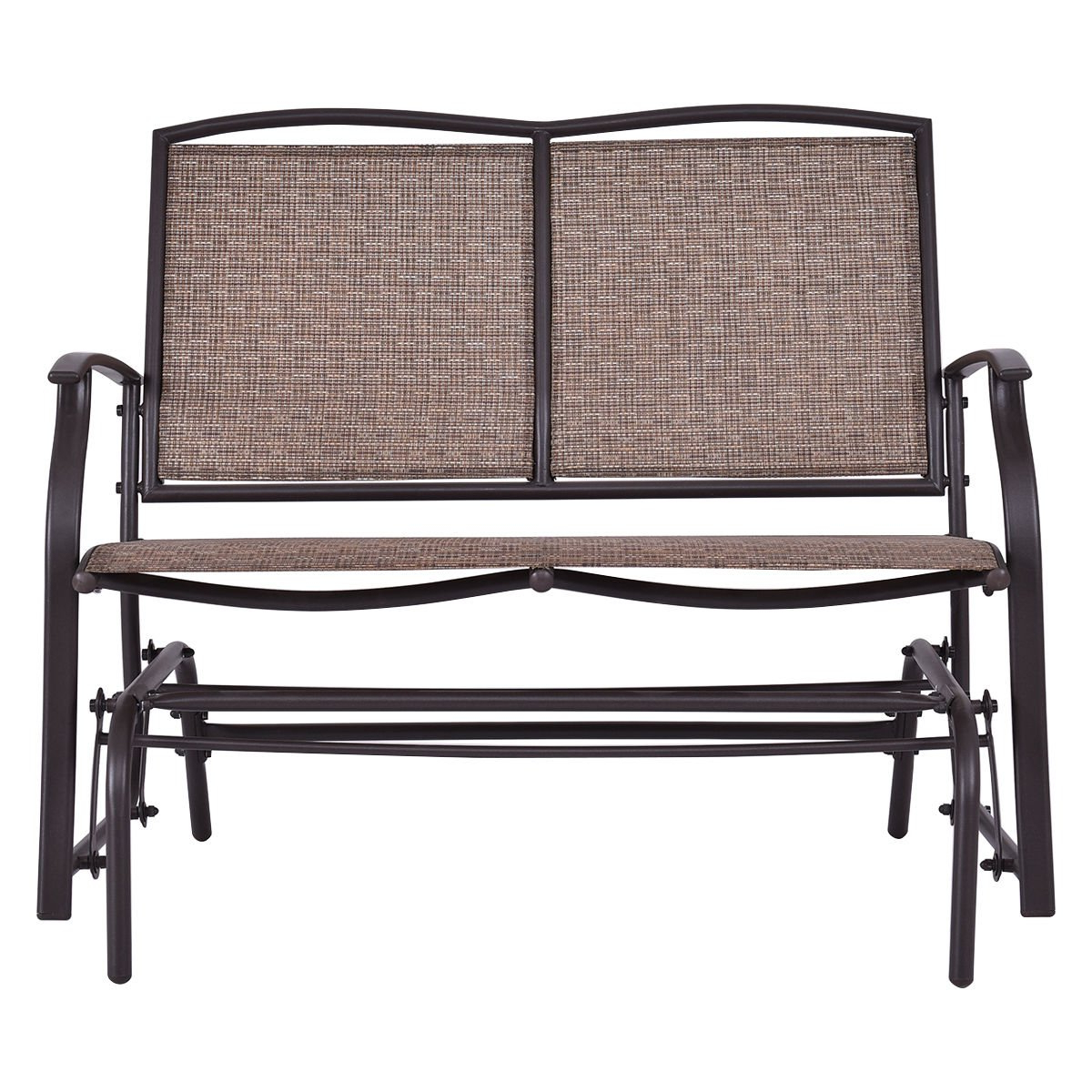 Fashionable Amazon : Patio Glider Rocking Bench Double 2 Person Within Iron Double Patio Glider Benches (Gallery 15 of 30)