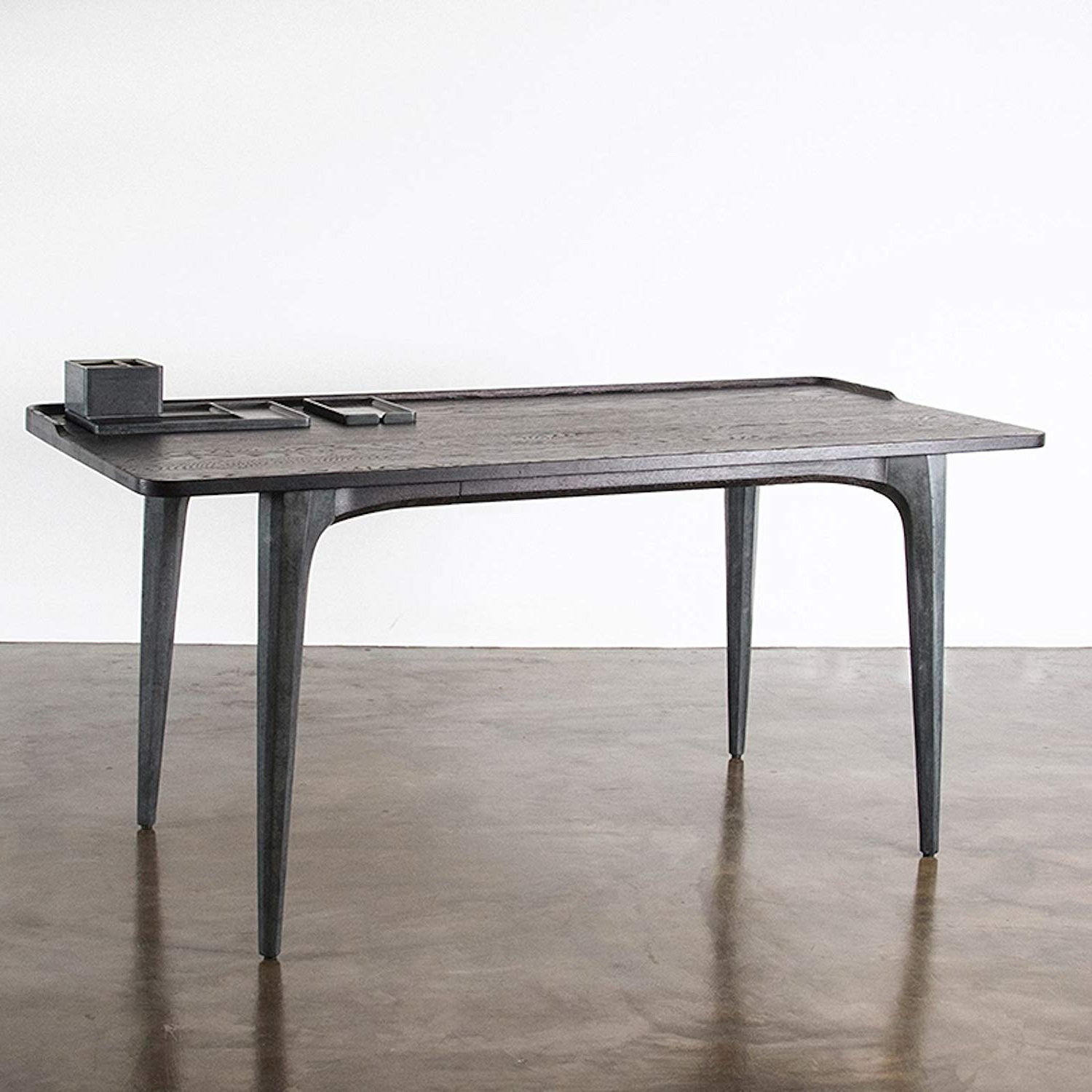 Fashionable Amazon: Salk Office Desk In Seared Oak And Grey Concrete Pertaining To Dining Tables In Seared Oak With Brass Detail (View 29 of 30)