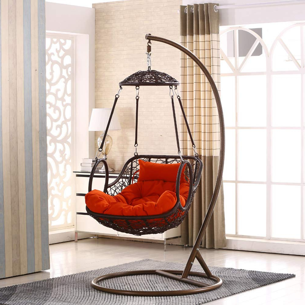 Fashionable Amazon: Smgpyhwyp Grey Colour Rattan Swing Chair Intended For Outdoor Wicker Plastic Half Moon Leaf Shape Porch Swings (View 3 of 30)