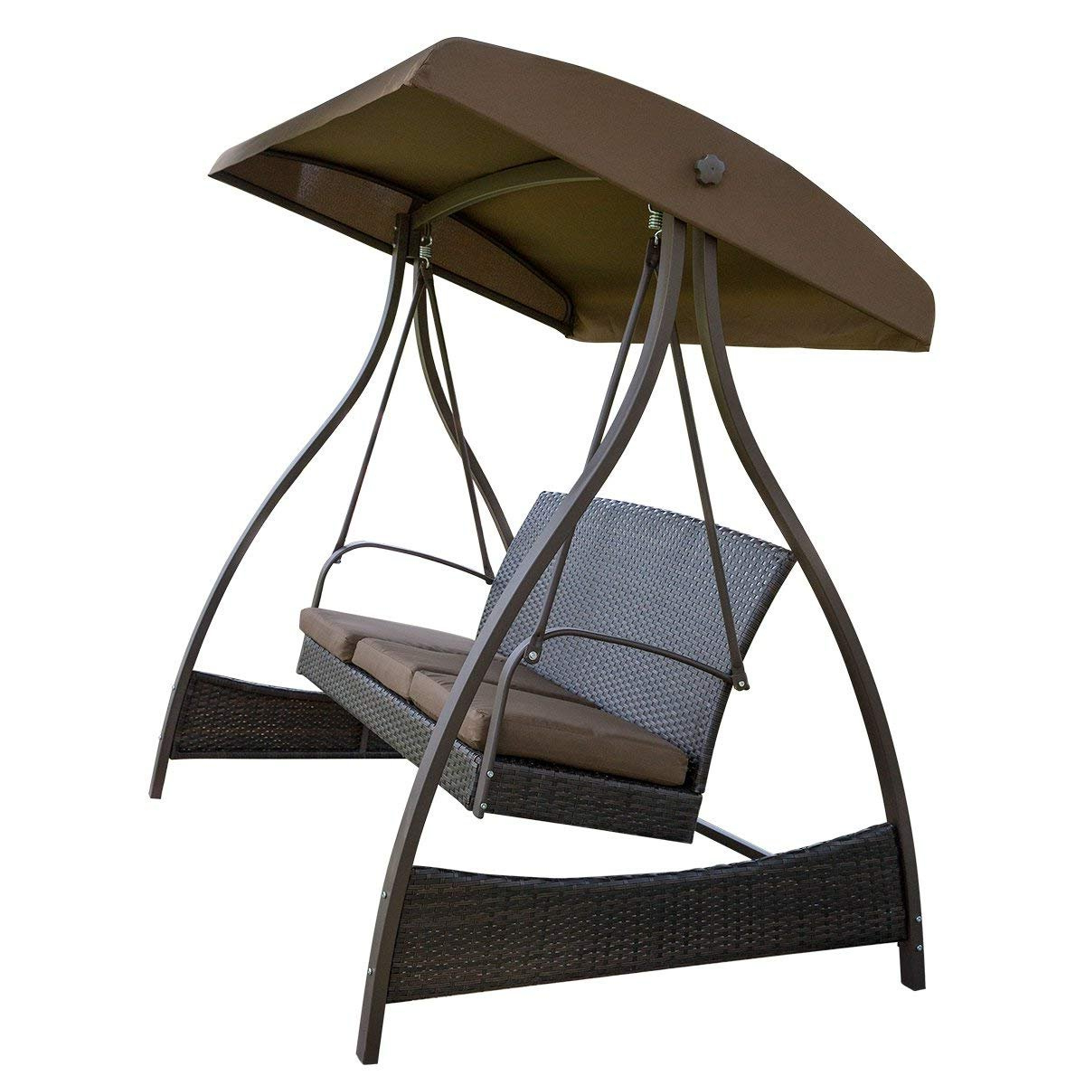 Fashionable Amazon : Sunlife Porch Swing 3 Seat Lawn Glider Hammock For Wicker Glider Outdoor Porch Swings With Stand (View 9 of 30)