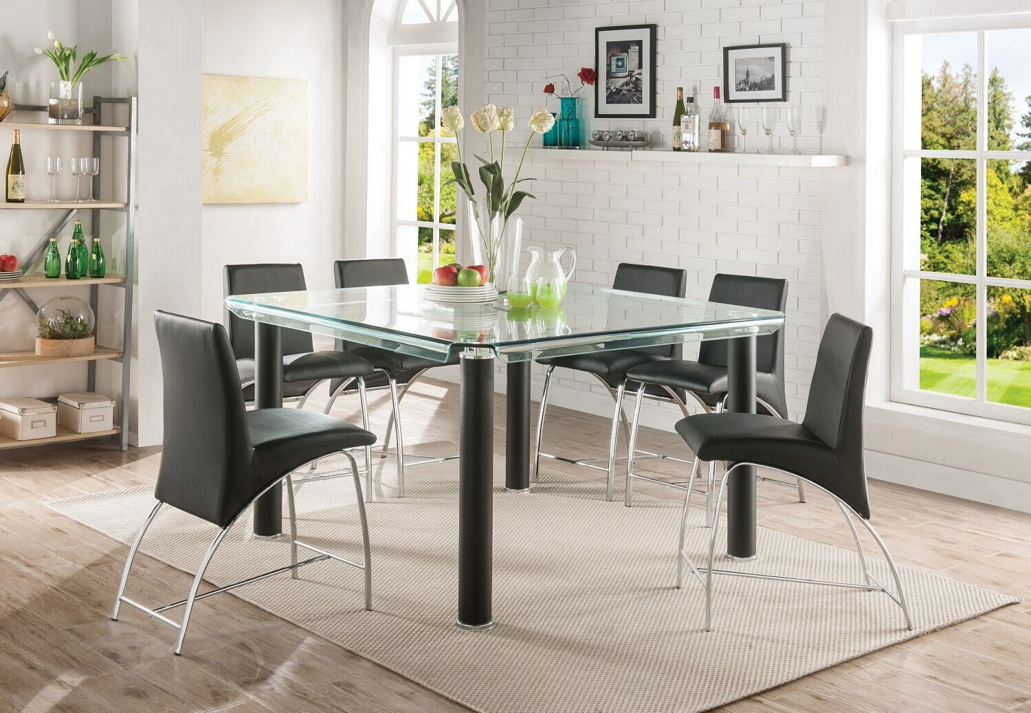 Fashionable Artefac Contemporary Casual Dining Tables Inside Acme Gordie Counter Height Table In Black & Clear Glass (Gallery 20 of 30)