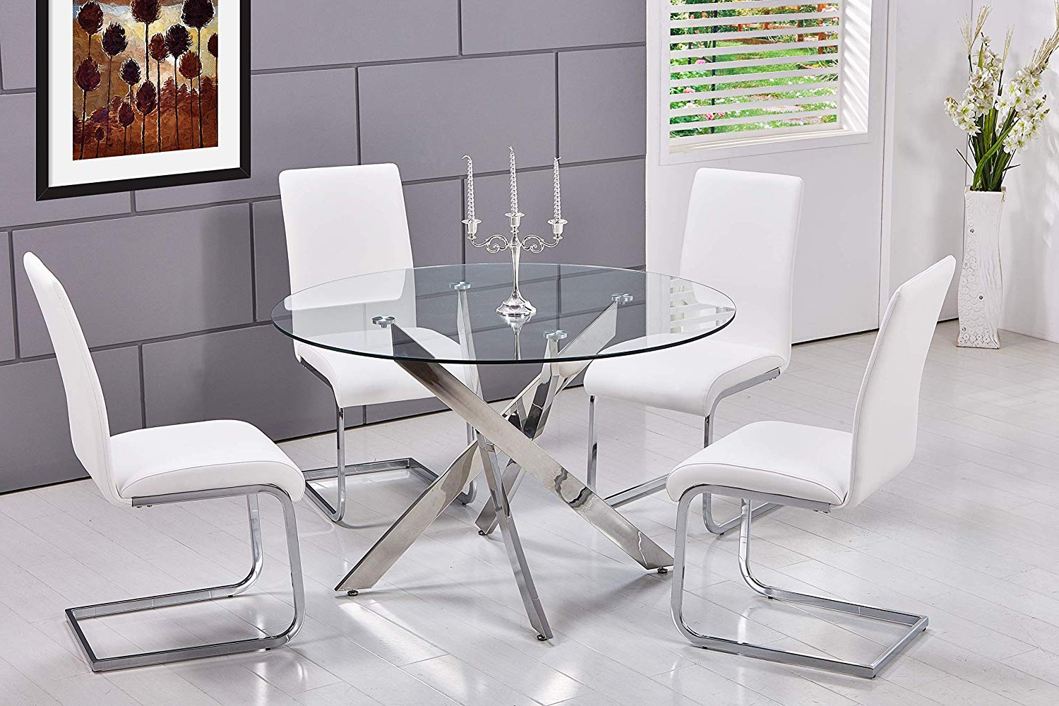 Fashionable Best Master Furniture T01 Mirage 5 Pcs Glass Top Modern Dining Set, White Regarding 4 Seater Round Wooden Dining Tables With Chrome Legs (View 2 of 30)