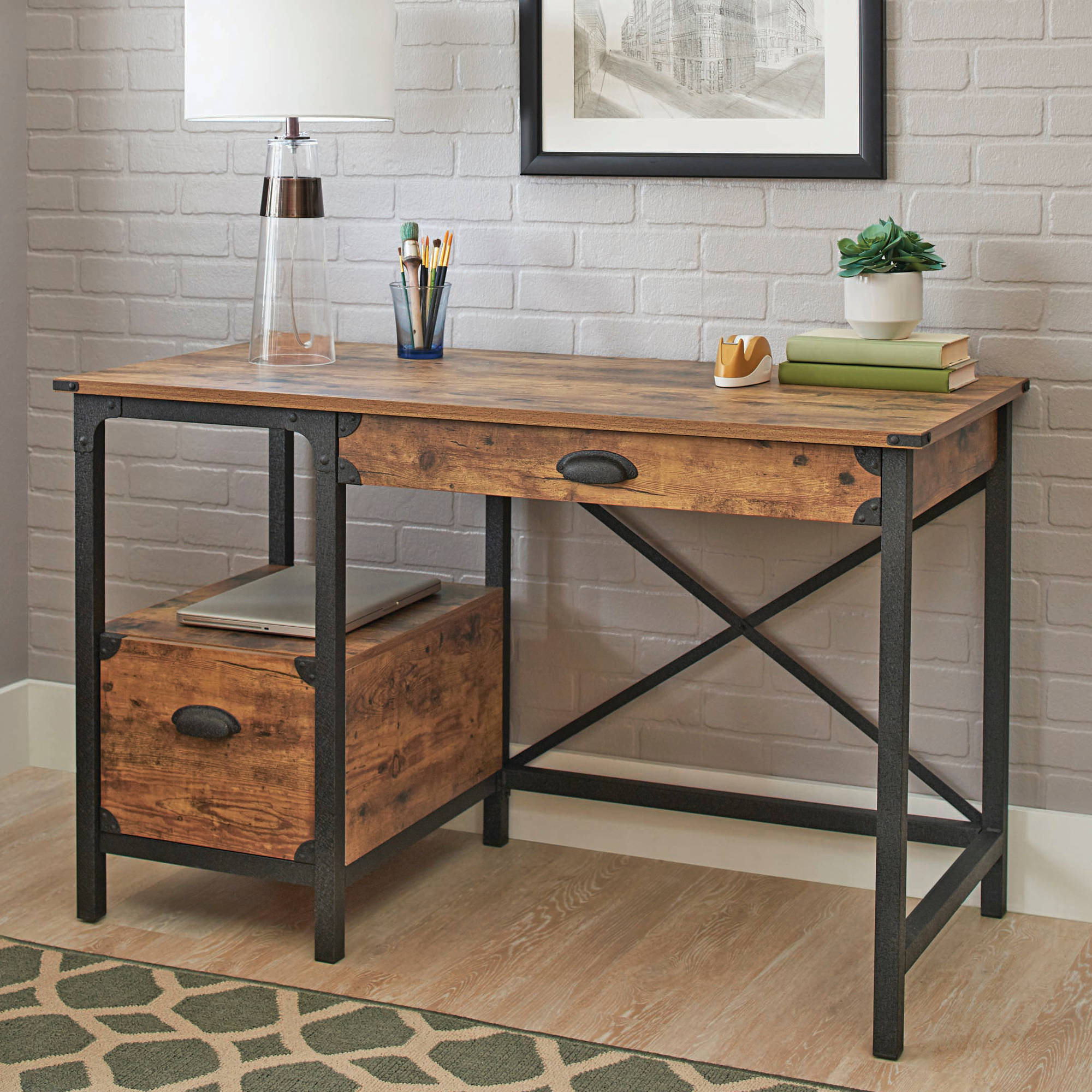 Fashionable Better Homes & Gardens Rustic Country Desk, Weathered Pine Throughout Country Dining Tables With Weathered Pine Finish (View 15 of 30)