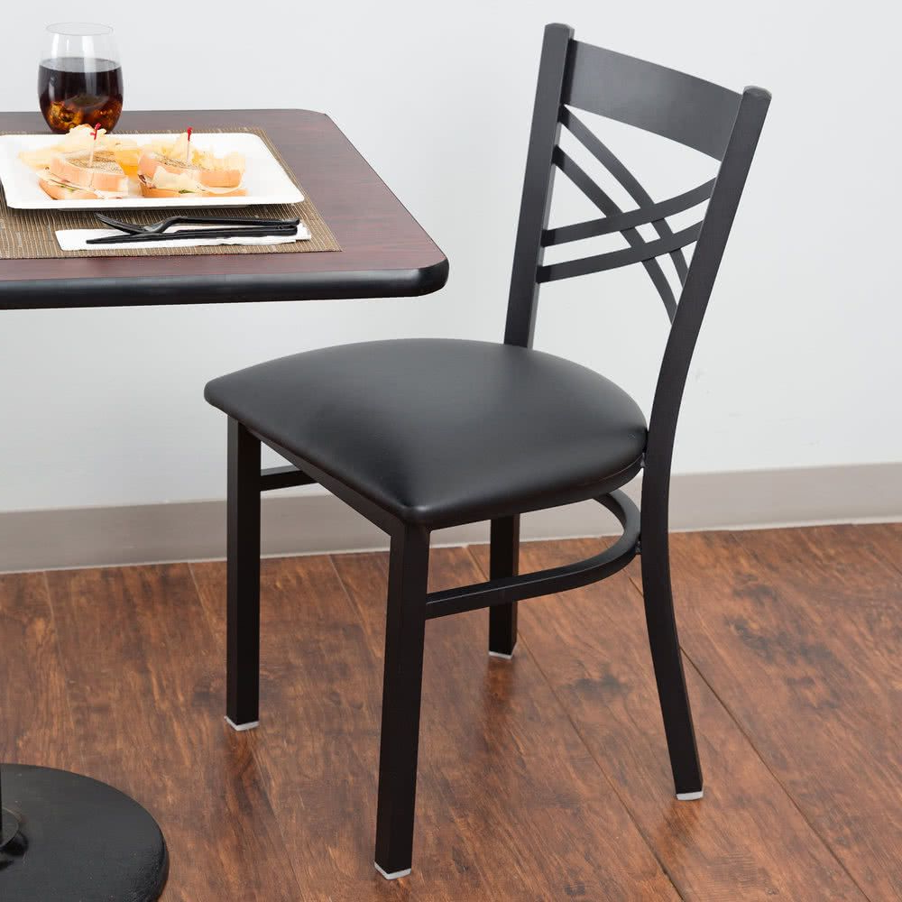 Fashionable Bistro Transitional 4 Seating Square Dining Tables Within Lancaster Table & Seating Black Cross Back Chair With 2 1/ (View 19 of 30)