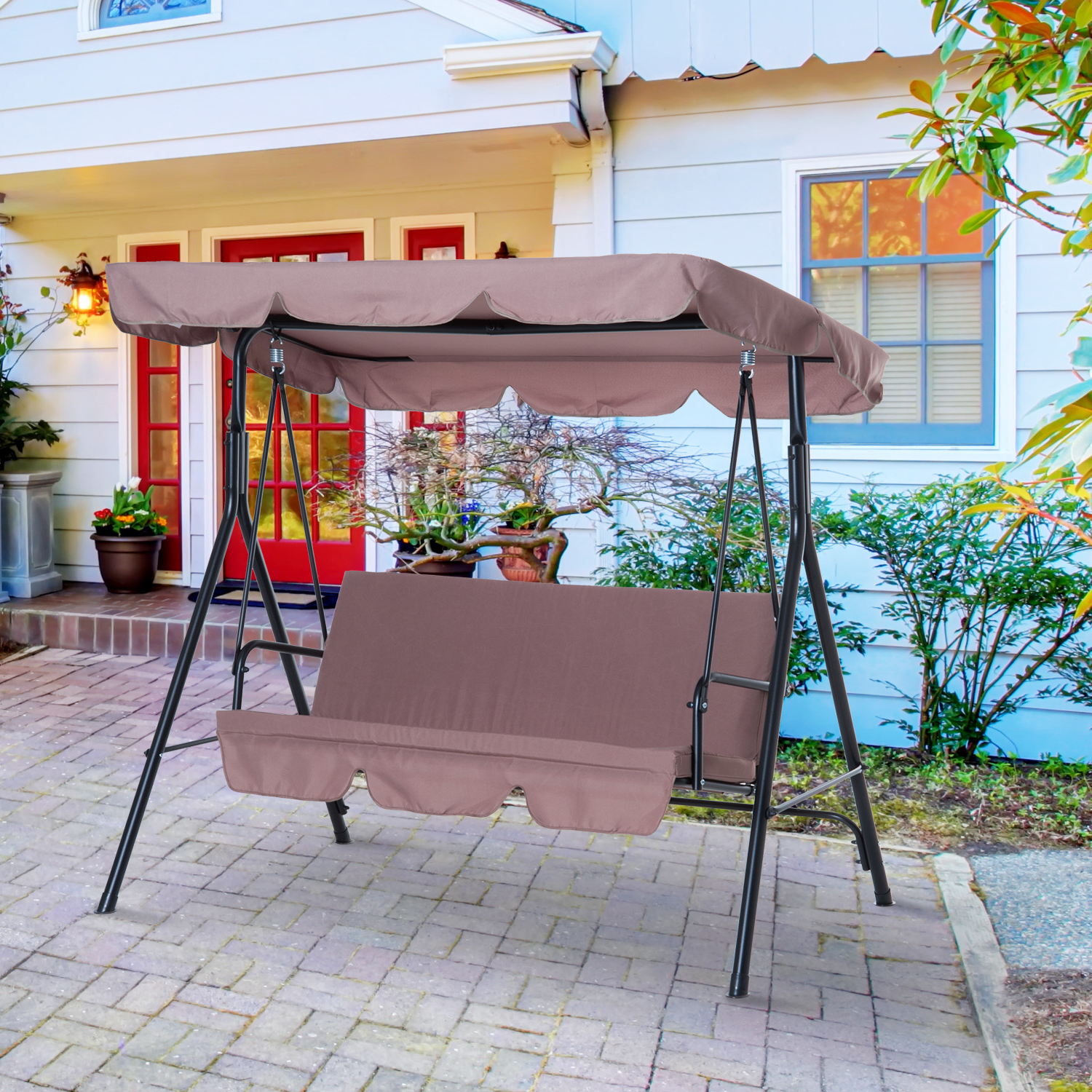 Fashionable Cad $149.99 Outsunny Meatal 3 Seater Outdoor Patio Swing Pertaining To 3 Seats Patio Canopy Swing Gliders Hammock Cushioned Steel Frame (Gallery 11 of 30)