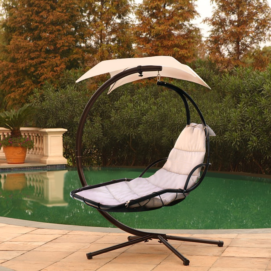 Fashionable Canopy Patio Porch Swing With Stand For Chaise Lounger Hanging Chair Arc Stand Air Porch Swing (Gallery 19 of 30)