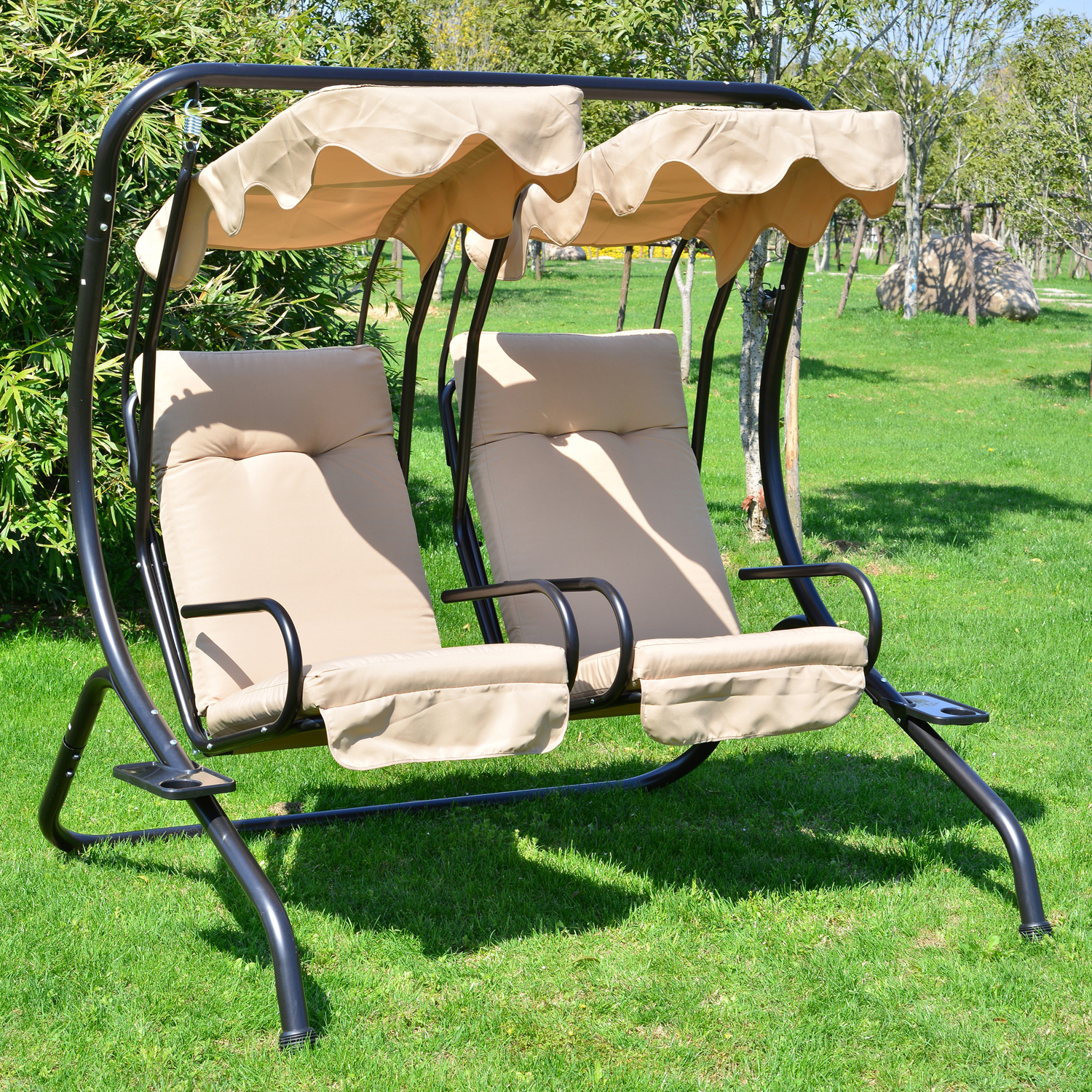 Fashionable Canopy Patio Porch Swing With Stand In Outsunny Porch Swings (View 20 of 30)