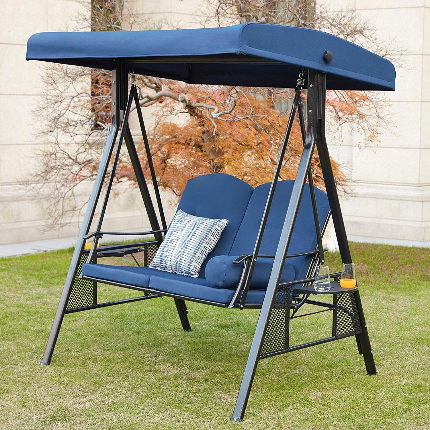 Fashionable Canopy Patio Porch Swings With Pillows And Cup Holders In Lokatse Home 2 Person Canopy Outdoor Swing Chair Patio Hammock Cushions And  Teapoys Loveseat Bench Bed Furniture, 2 Seat Blue (Gallery 26 of 30)
