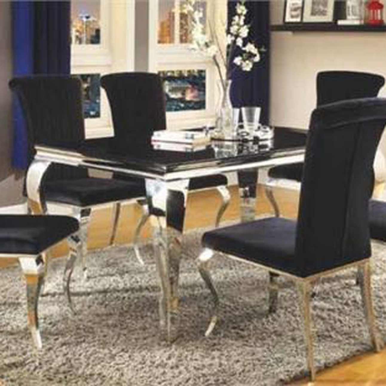 Fashionable Chrome Contemporary Square Casual Dining Tables Pertaining To Barzini Stainless Steel Dining Table Set (Gallery 24 of 30)