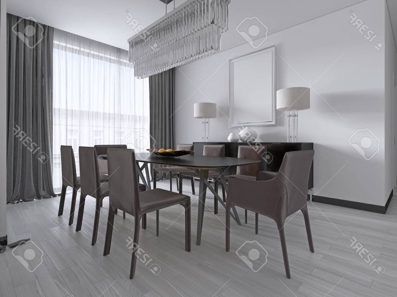 Fashionable Contemporary Rectangular Dining Tables Regarding Contemporary Dining Room With A Large Rectangular Dining Table. (View 22 of 30)