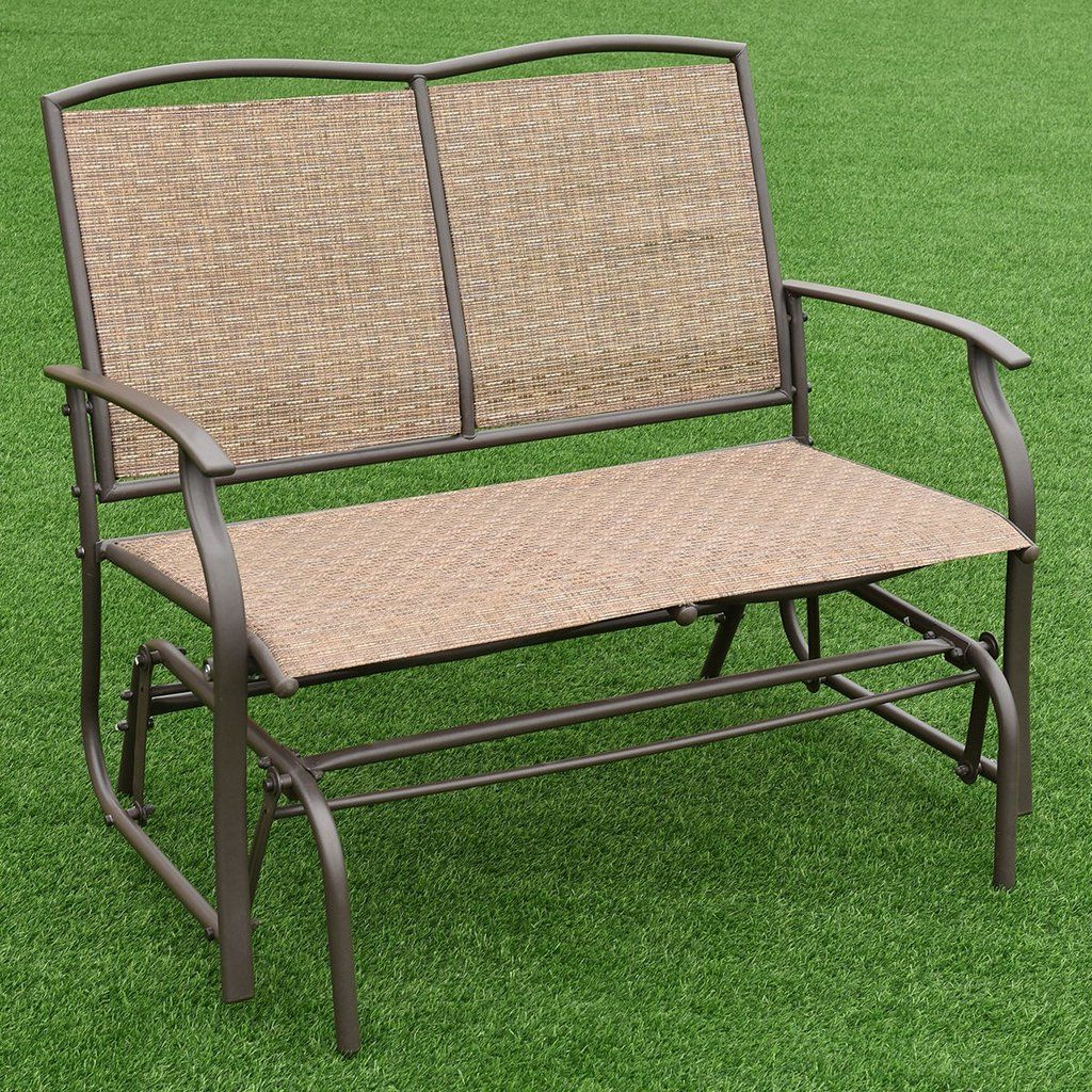 Fashionable Costway Patio Glider Rocking Bench Double 2 Person Chair Throughout Iron Double Patio Glider Benches (View 27 of 30)