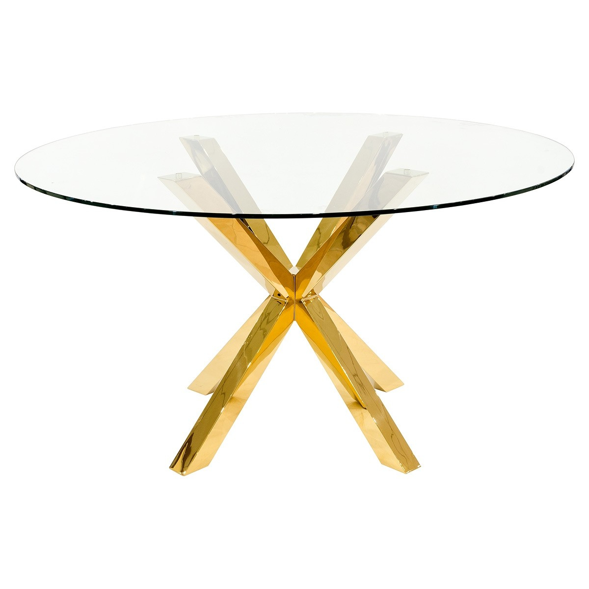 Fashionable Crossly Round Gold Dining Table Within Modern Gold Dining Tables With Clear Glass (View 11 of 30)