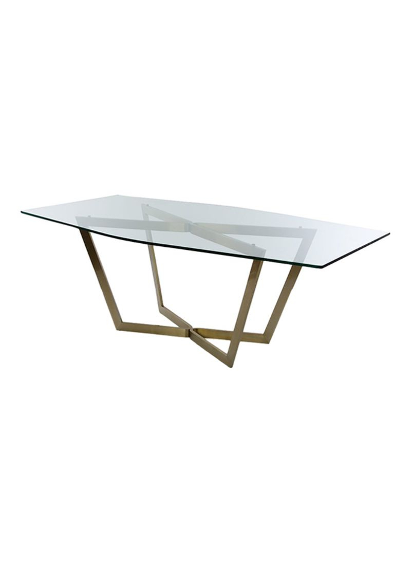 Fashionable Dining Tables With Brushed Gold Stainless Finish Intended For Shop Madeira Negra London Dining Table Clear/gold 220x78x (View 29 of 30)