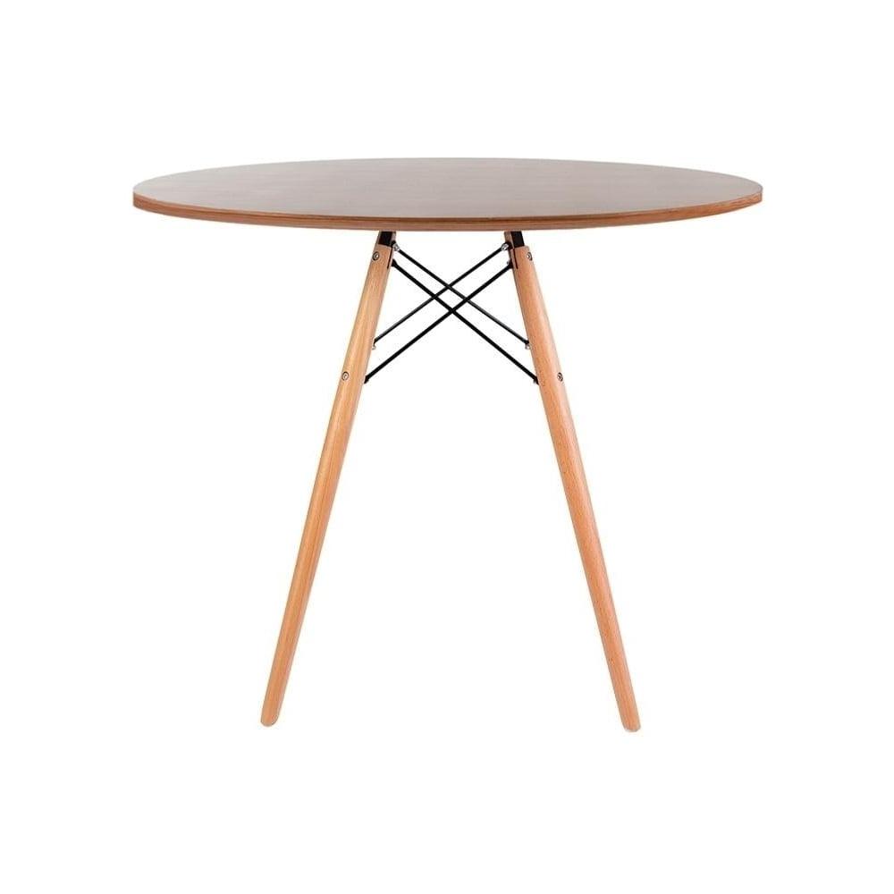 Fashionable Eiffel Inspired Medium Walnut Circular Dining Table With Beech Wood Legs Pertaining To Eames Style Dining Tables With Wooden Legs (View 24 of 30)