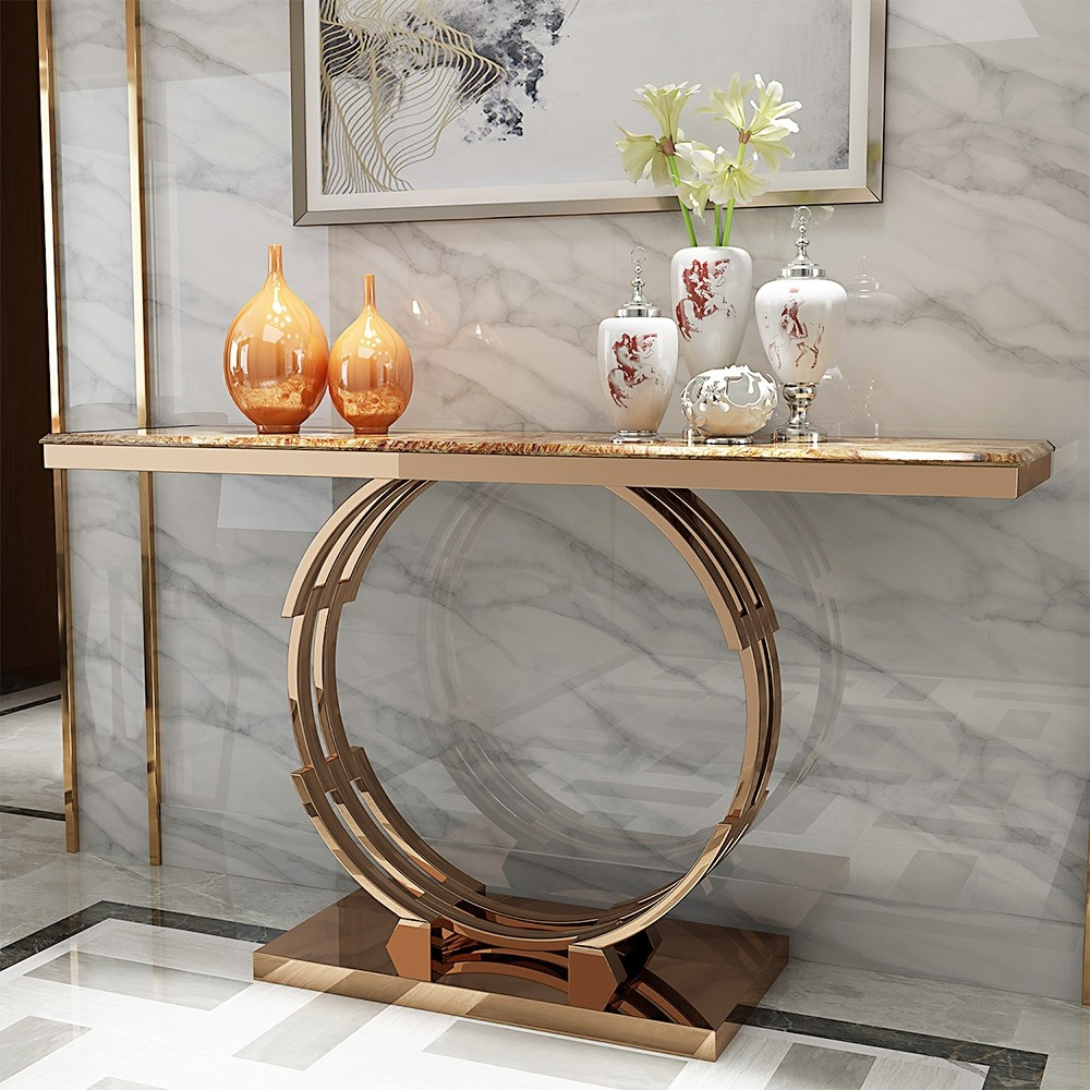 "Fashionable Faux Marble Finish Metal Contemporary Dining Tables Regarding Modern Luxury 48"" Faux Marble Narrow Console Table Rectangle Tabletop  Stainless Steel In Rose Gold (View 3 of 30)"
