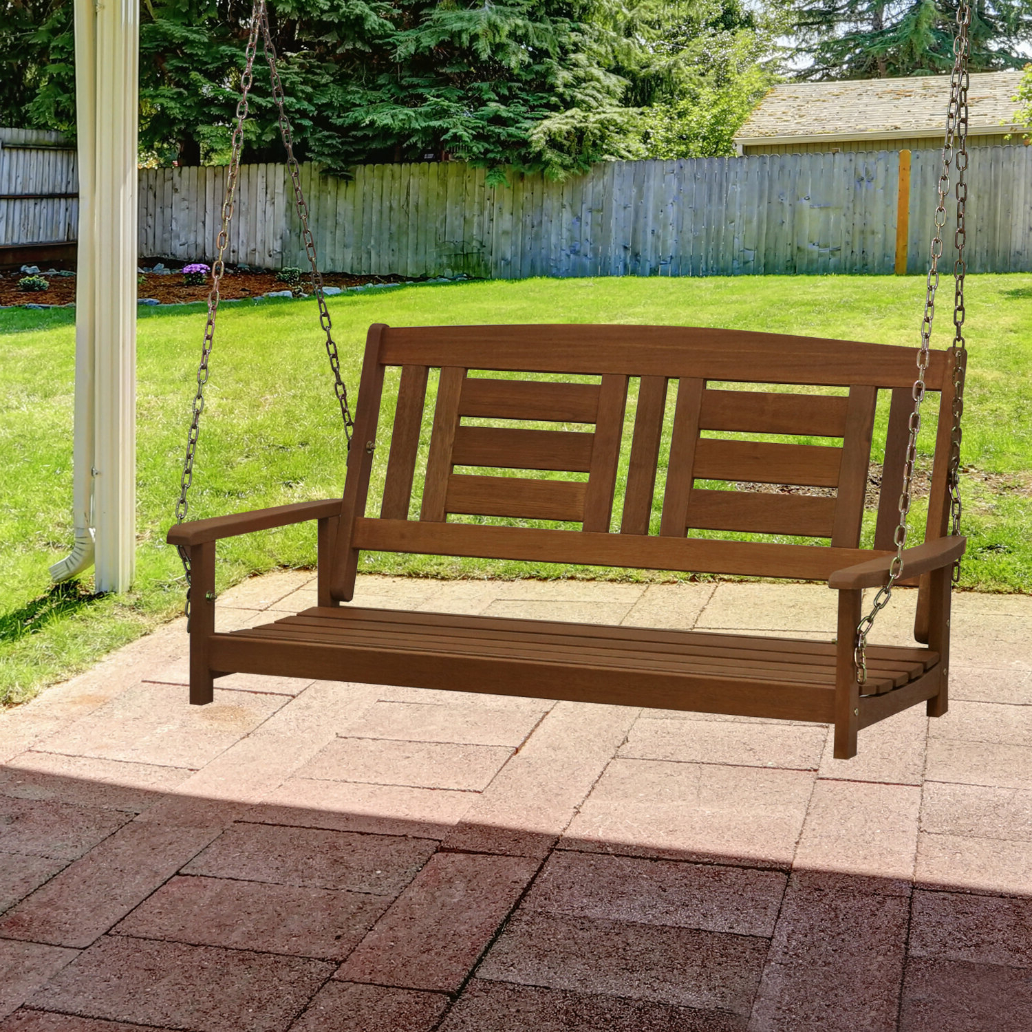 Fashionable Fordyce Porch Swings In Arianna Hardwood Hanging Porch Swing (View 7 of 30)