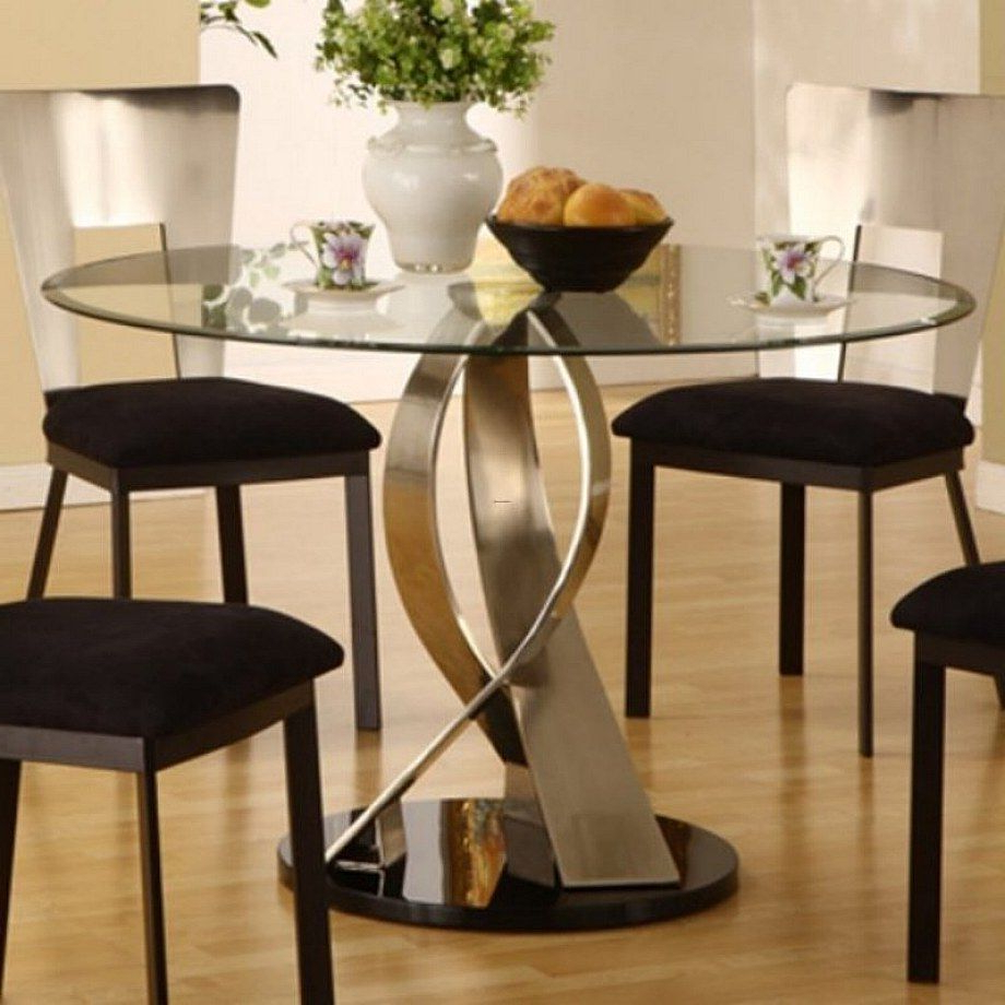 Fashionable Furniture Remarkable Artistic Round Glass Top Dining Table Inside Round Dining Tables With Glass Top (Gallery 8 of 30)