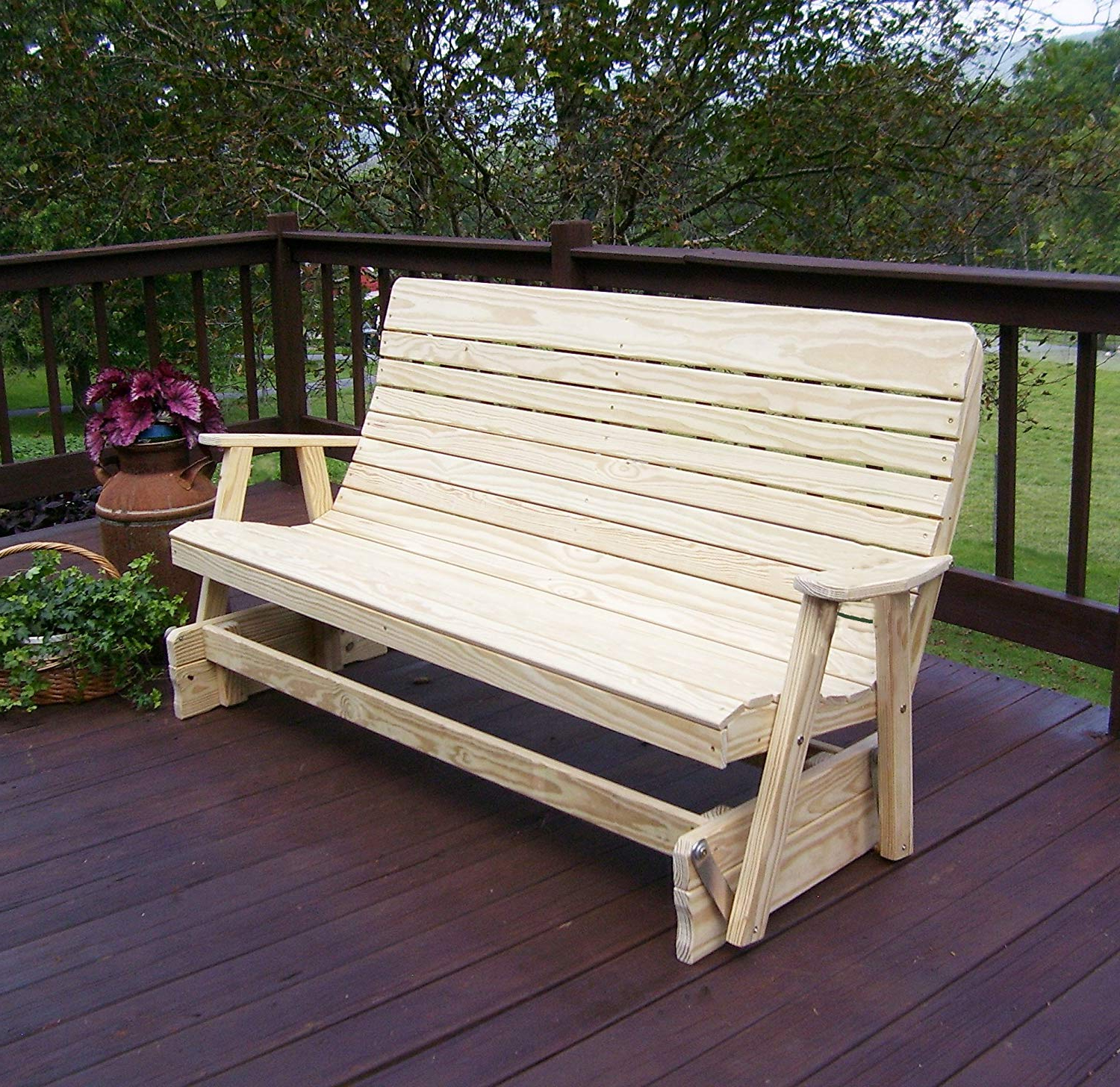 Fashionable Hardwood Porch Glider Benches In Amazon : 6' Porch Glider Outdoor Patio Bench, 2 Person (View 14 of 30)