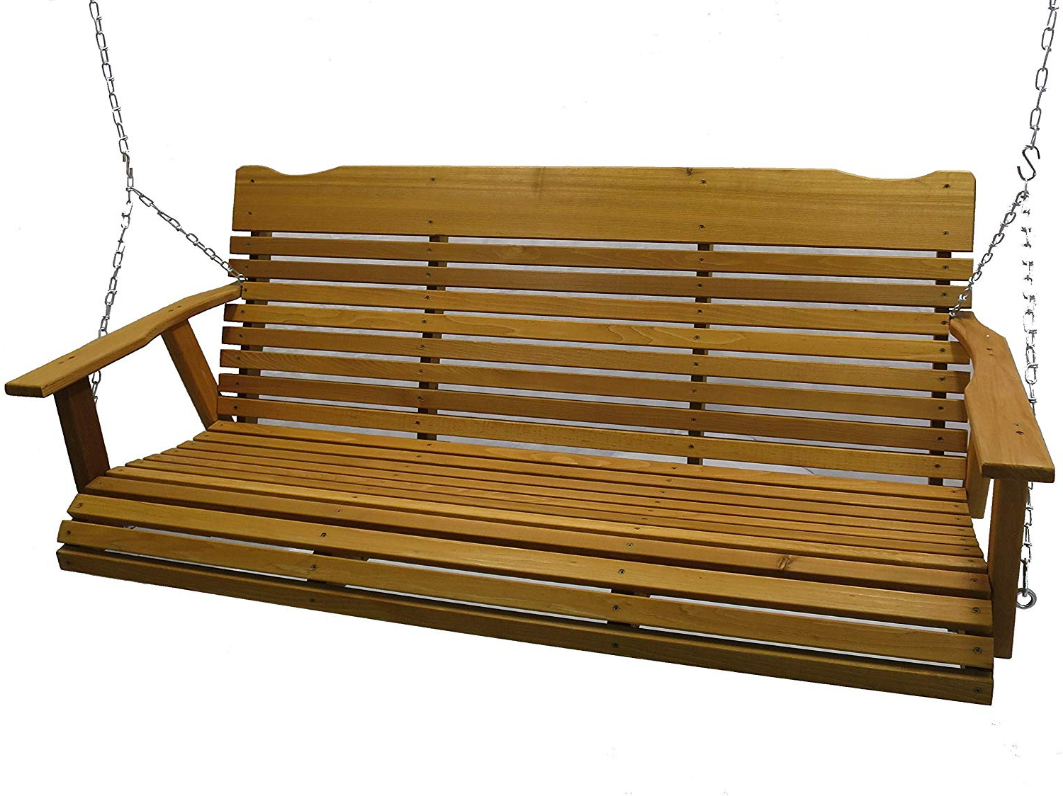 Fashionable Kilmer Creek 5 Foot Cedar Porch Swing, Stained Finish, Amish Crafted, Includes Chain & Springs Pertaining To Plain Porch Swings (View 2 of 30)