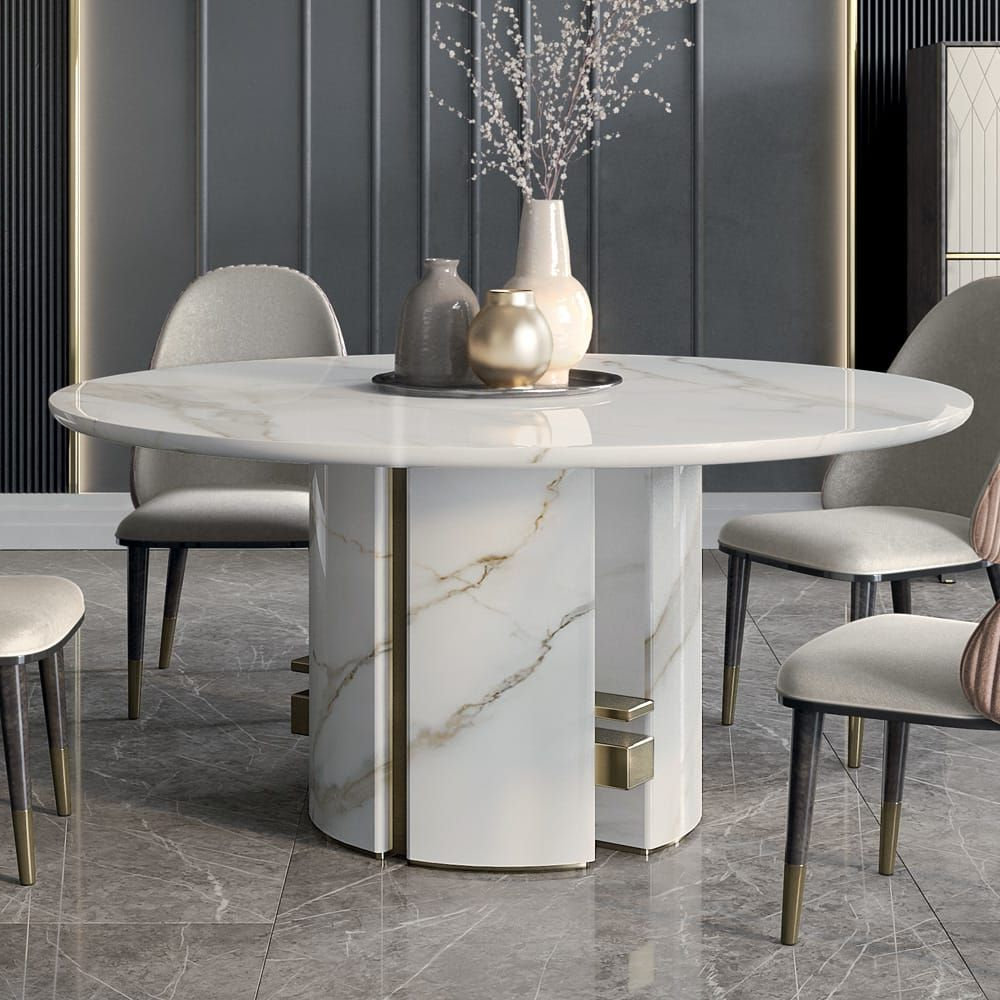 Fashionable Luxury Italian Designer Contemporary Round Marble Dining With Regard To Faux Marble Finish Metal Contemporary Dining Tables (View 4 of 30)
