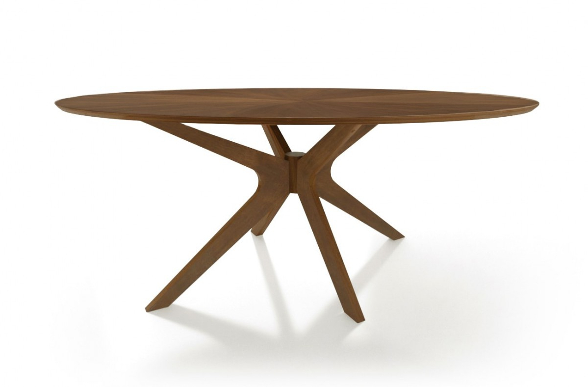 Fashionable Modrest Prospect – Modern Oval Walnut Dining Table In Contemporary 4 Seating Oblong Dining Tables (View 12 of 30)