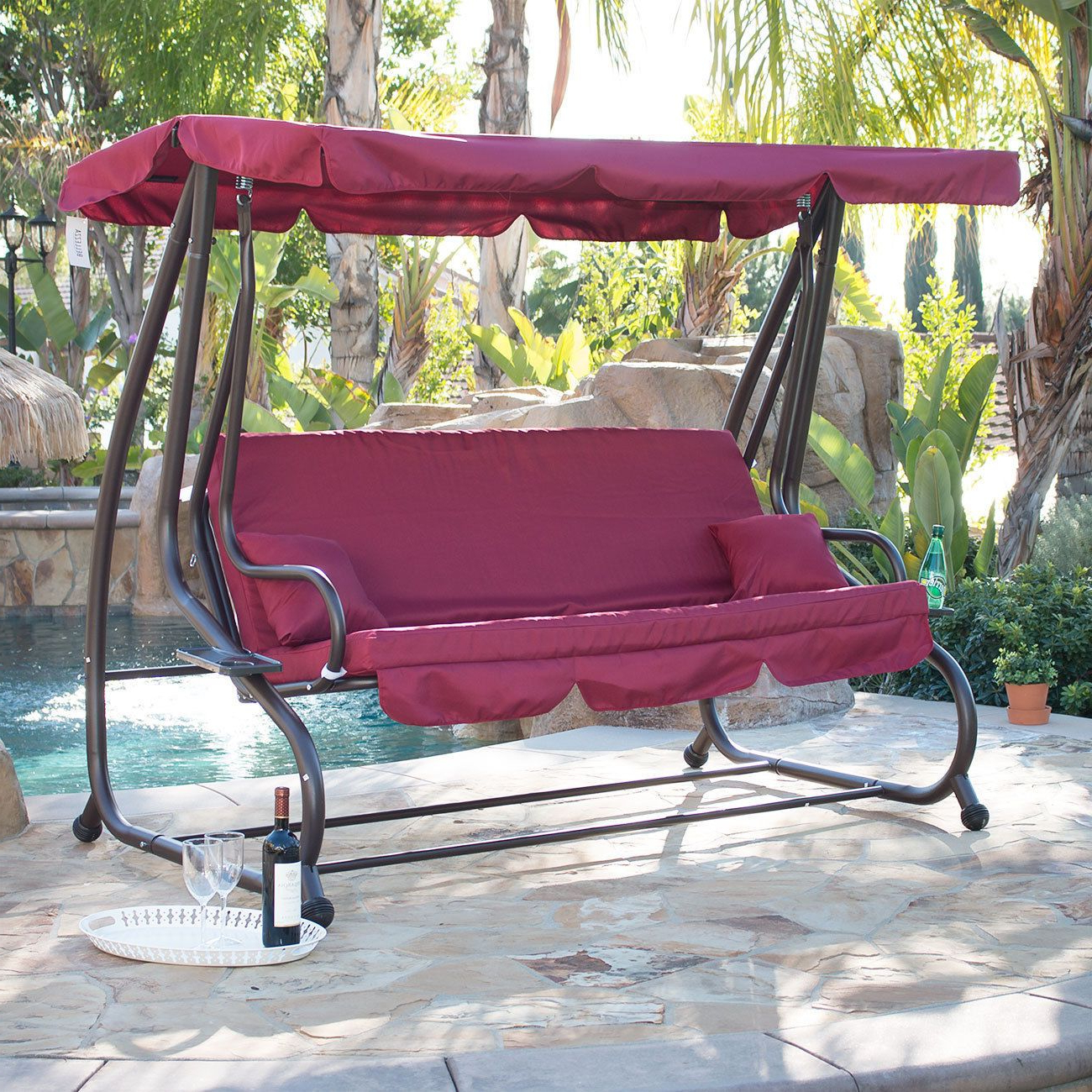 Fashionable Outdoor Canopy Hammock Porch Swings With Stand Throughout Outdoor Canopy Swing/bed Patio Deck Garden Porch Seat (Gallery 12 of 30)