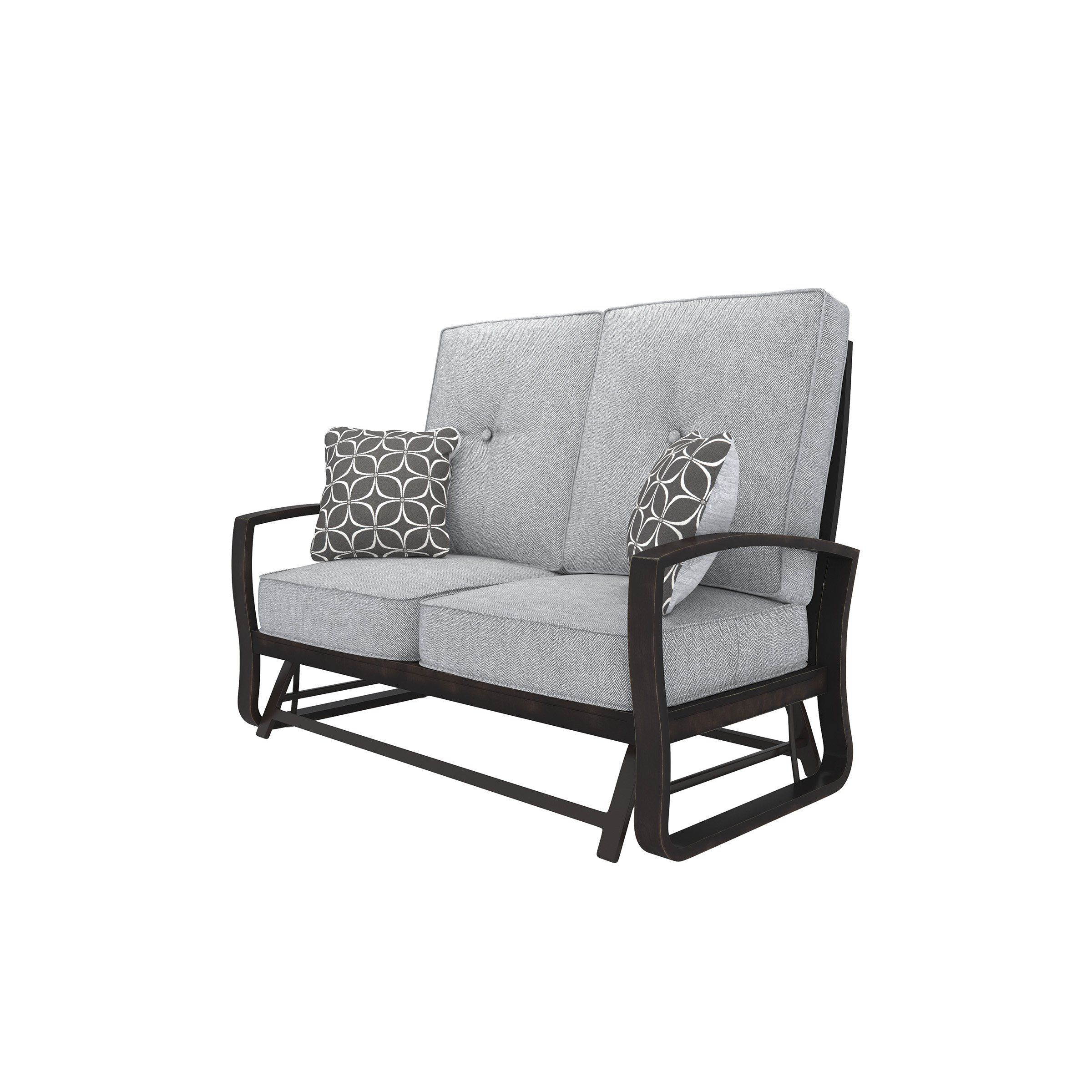 Fashionable Outdoor Loveseat Gliders With Cushion Regarding Signature Design P414 835 Castle Island Brown Gray Outdoor (Gallery 1 of 30)