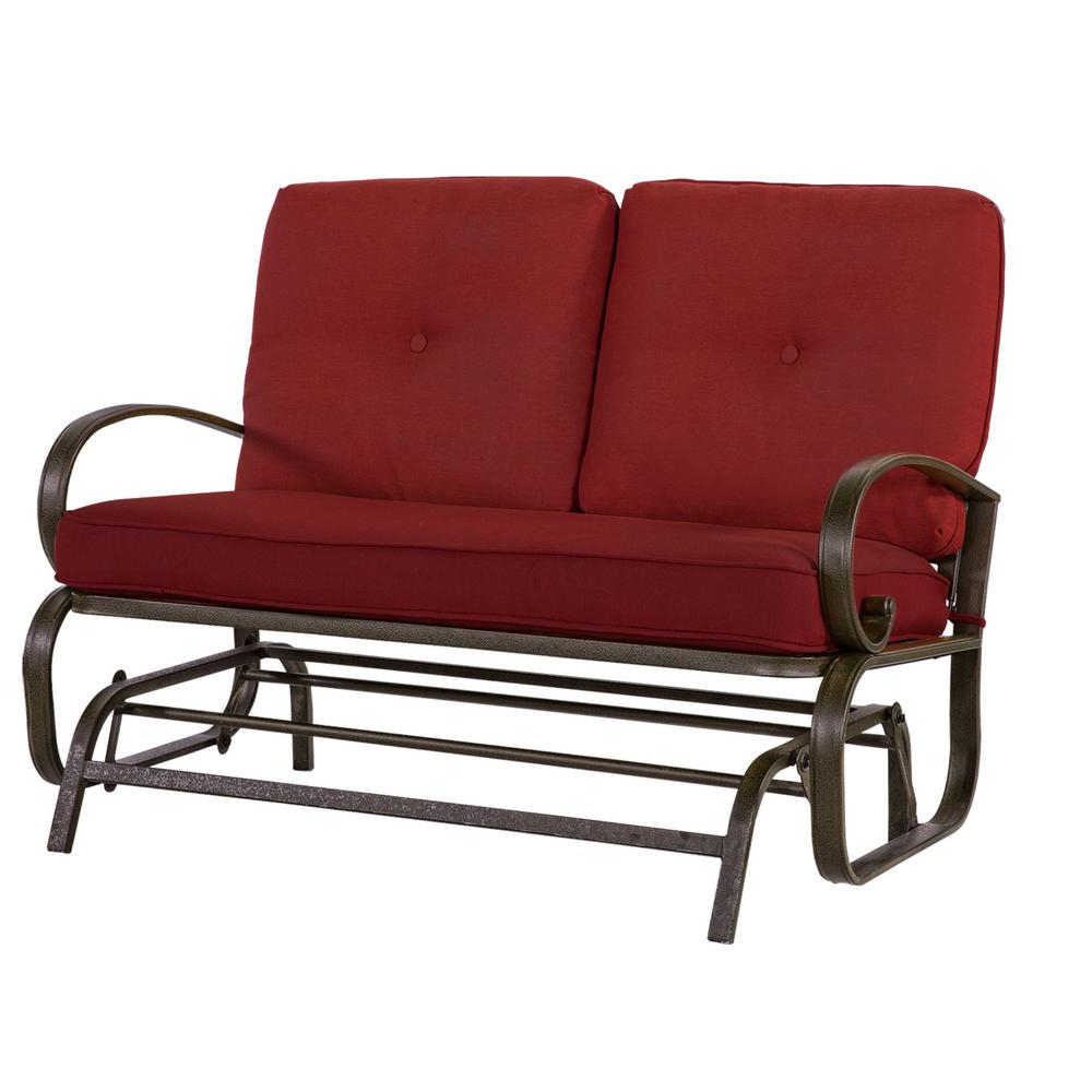 Fashionable Outdoor Loveseat Gliders With Cushion Throughout Crawford & Burke Leonard 2 Person Outdoor Loveseat Glider With Red Cushions (Gallery 3 of 30)