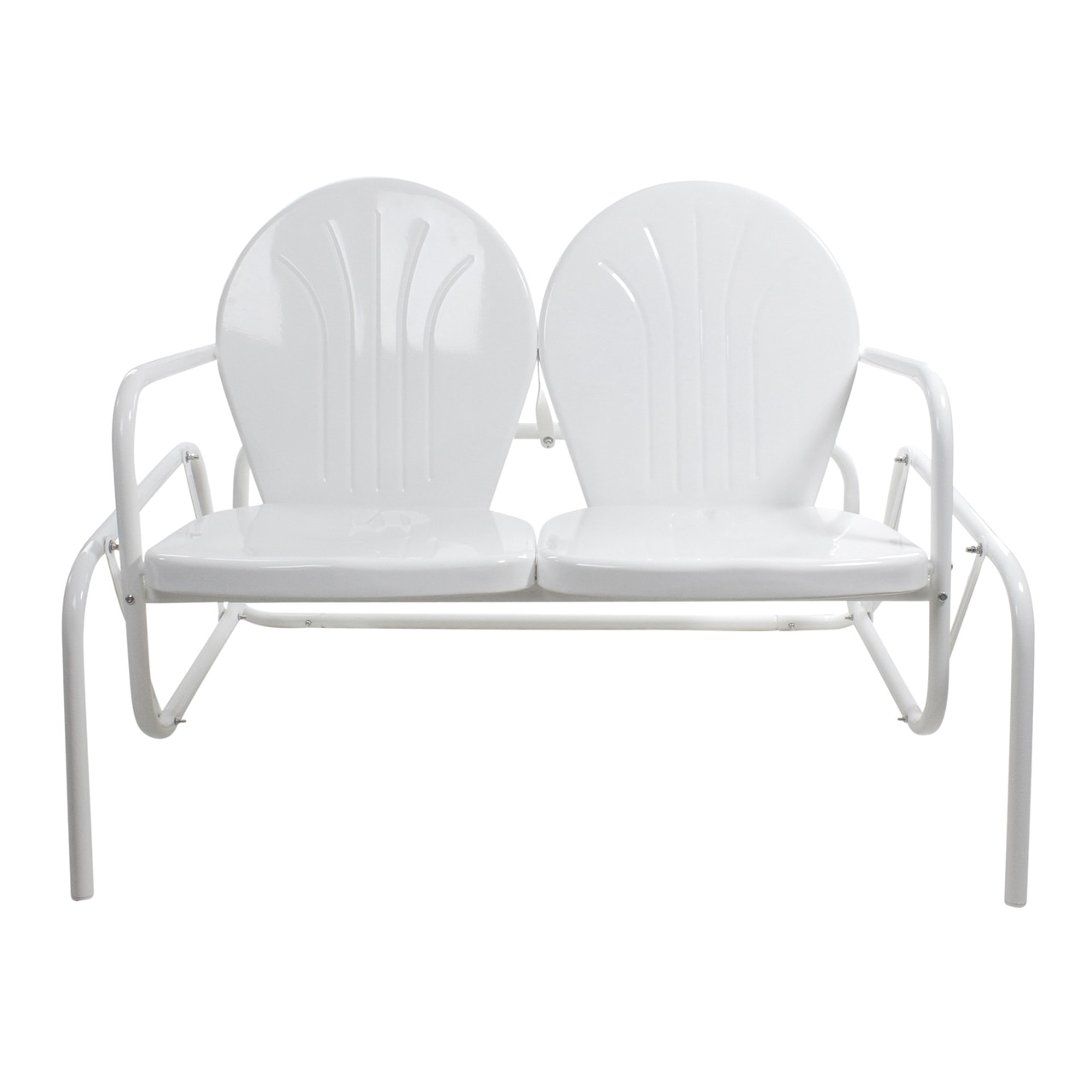 Fashionable Outdoor Retro Metal Double Glider Benches For Lb International 41 White Retro Metal Tulip Outdoor Double (Gallery 7 of 30)