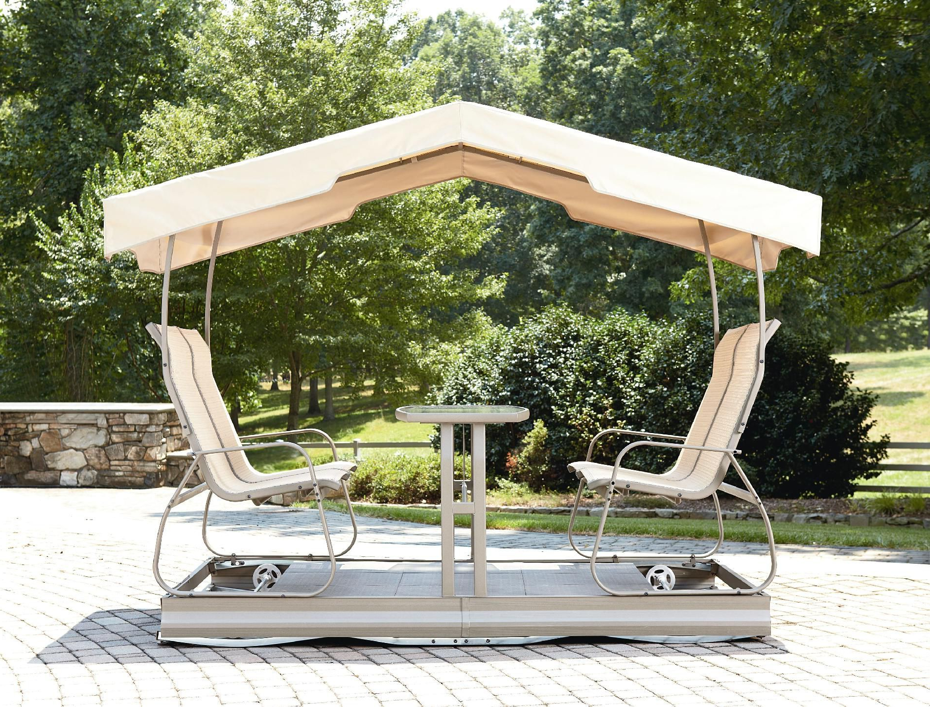Fashionable Outdoor Retro Metal Double Glider Benches Throughout Garden Glider Plans (View 15 of 30)