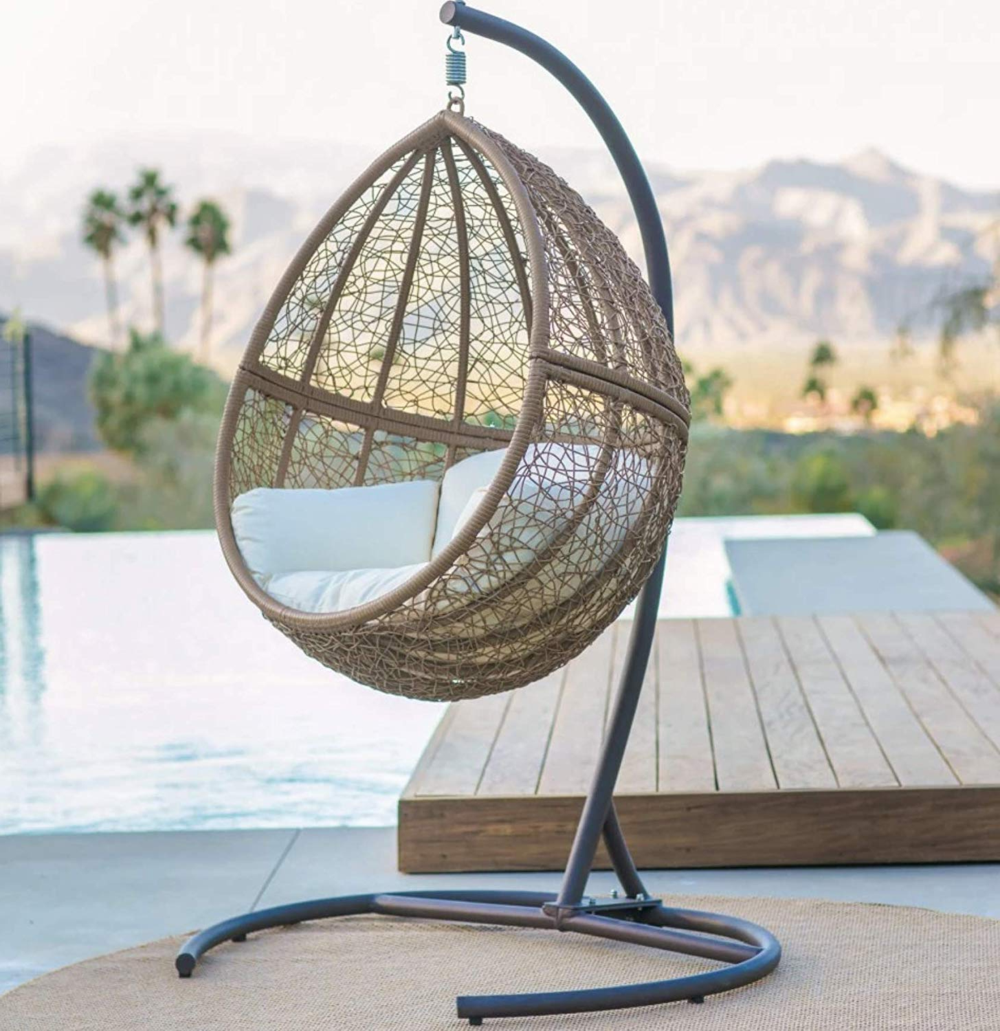 Fashionable Outdoor Wicker Plastic Tear Porch Swings With Stand For Amazon: Light Brown Boho Chic Resin Wicker Hanging Egg (View 20 of 30)
