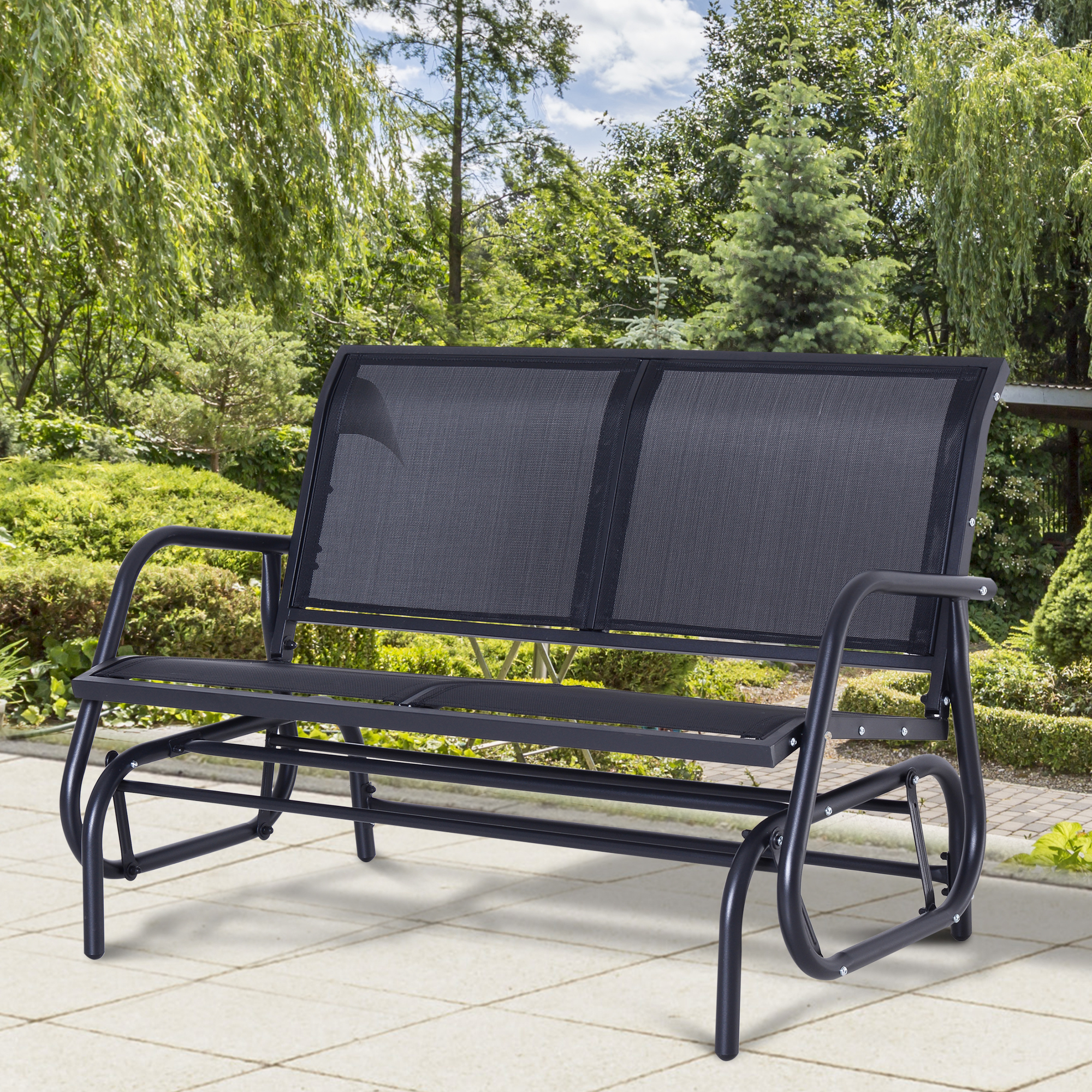 Fashionable Outsunny Steel Sling Fabric Outdoor Double Glider Rocking Throughout 1 Person Antique Black Steel Outdoor Gliders (Gallery 26 of 30)