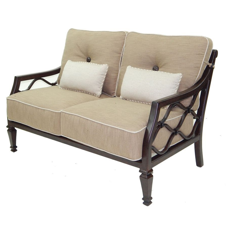 Fashionable Padded Sling Loveseats With Cushions Throughout Villa Bianca Cushioned Loveseat – Castelle Furniture Outdoor (Gallery 16 of 30)