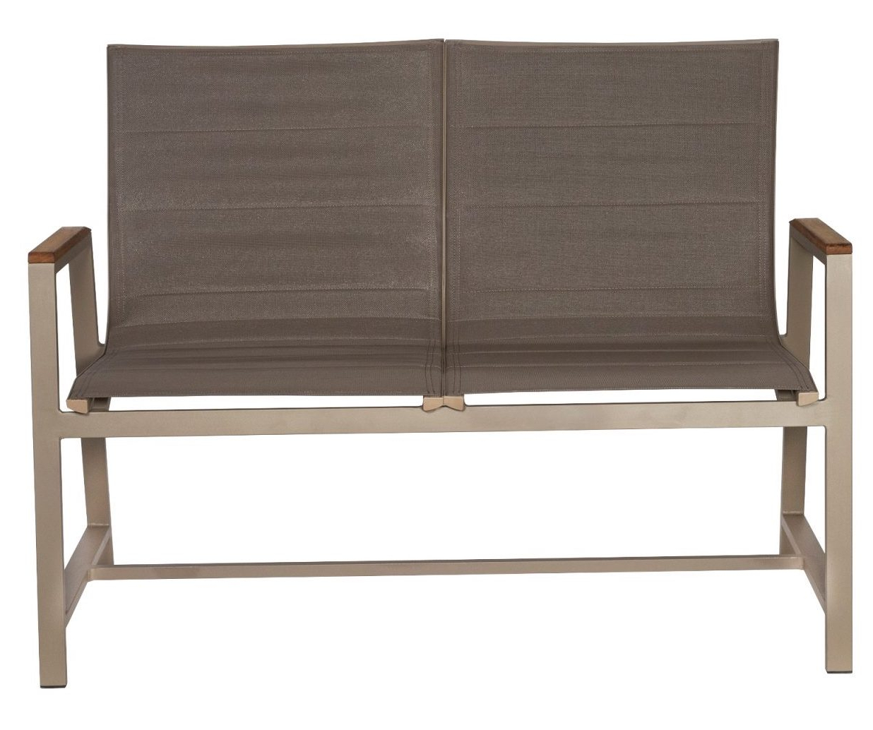 Fashionable Padded Sling Loveseats With Cushions With Regard To Outdoor Padded Sling Bench – Grd Brbp (Gallery 7 of 30)