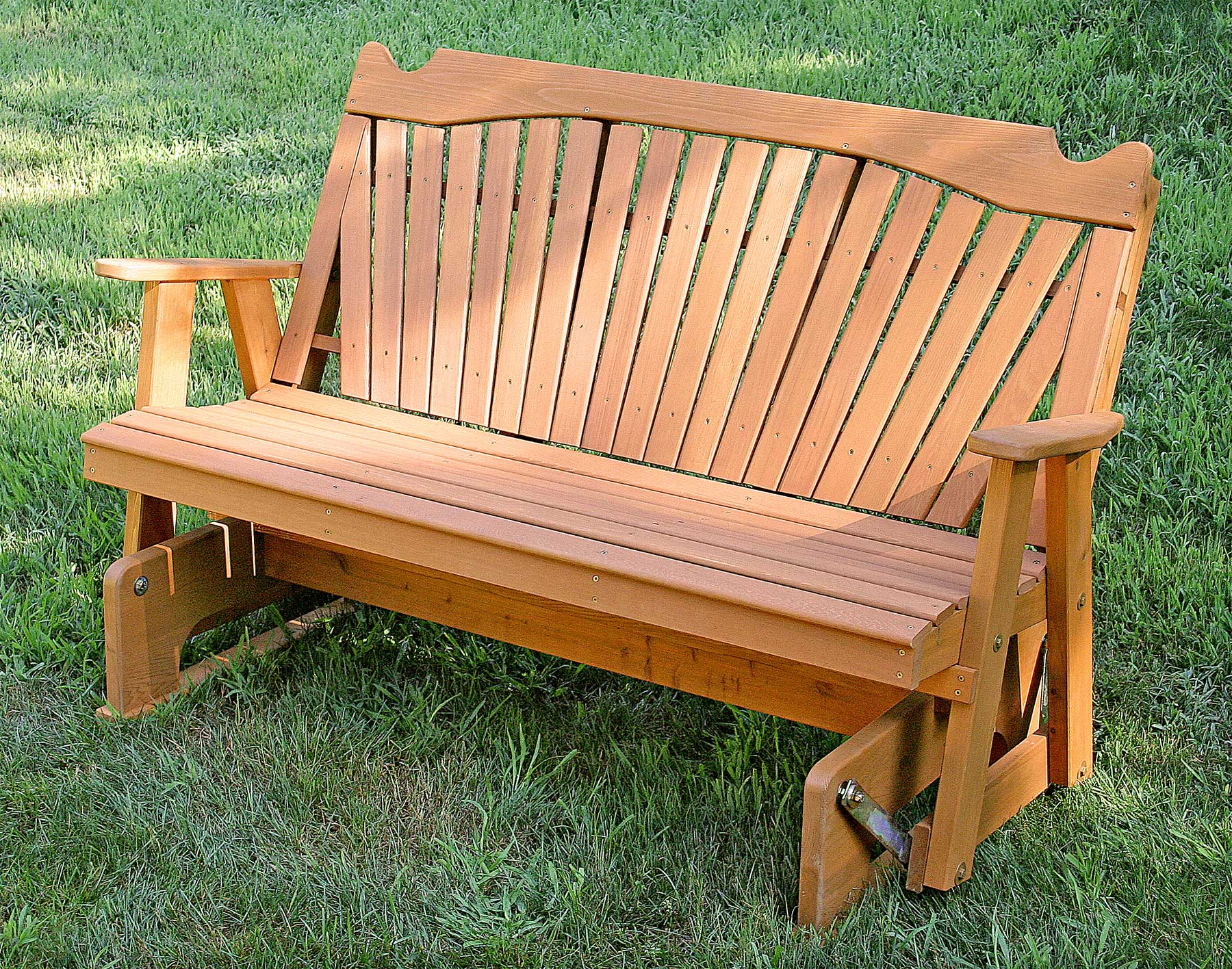 Fashionable Red Cedar Classic Fanback Glider With Regard To Fanback Glider Benches (Gallery 20 of 30)