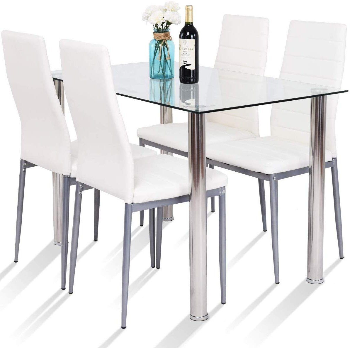 Fashionable Steel And Glass Rectangle Dining Tables Pertaining To Amazon – Tangkula 5 Pcs Dining Table Set Modern Tempered (Gallery 6 of 30)