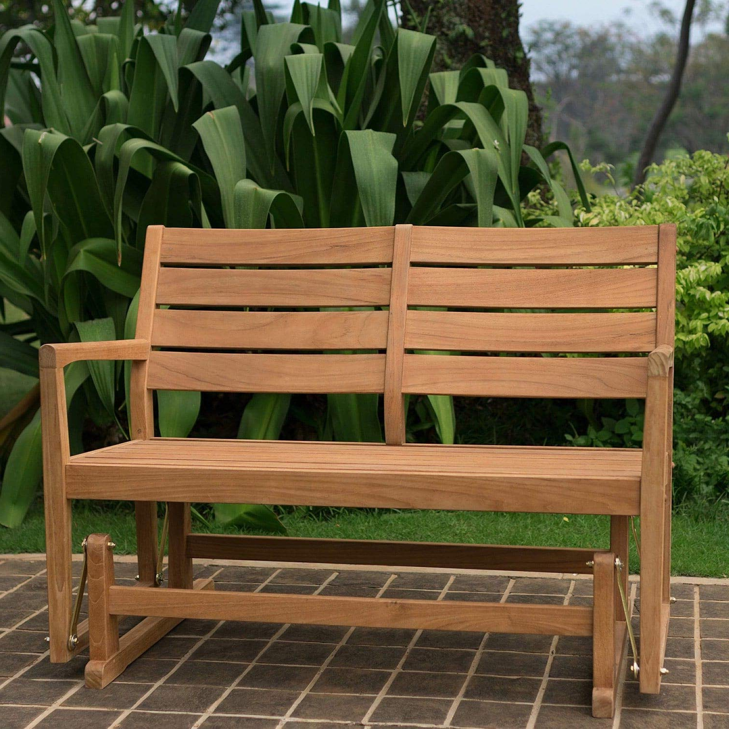Fashionable Teak Glider Benches In Amazon : Cambridge Casual Andrea Teak Glider Bench (View 4 of 30)