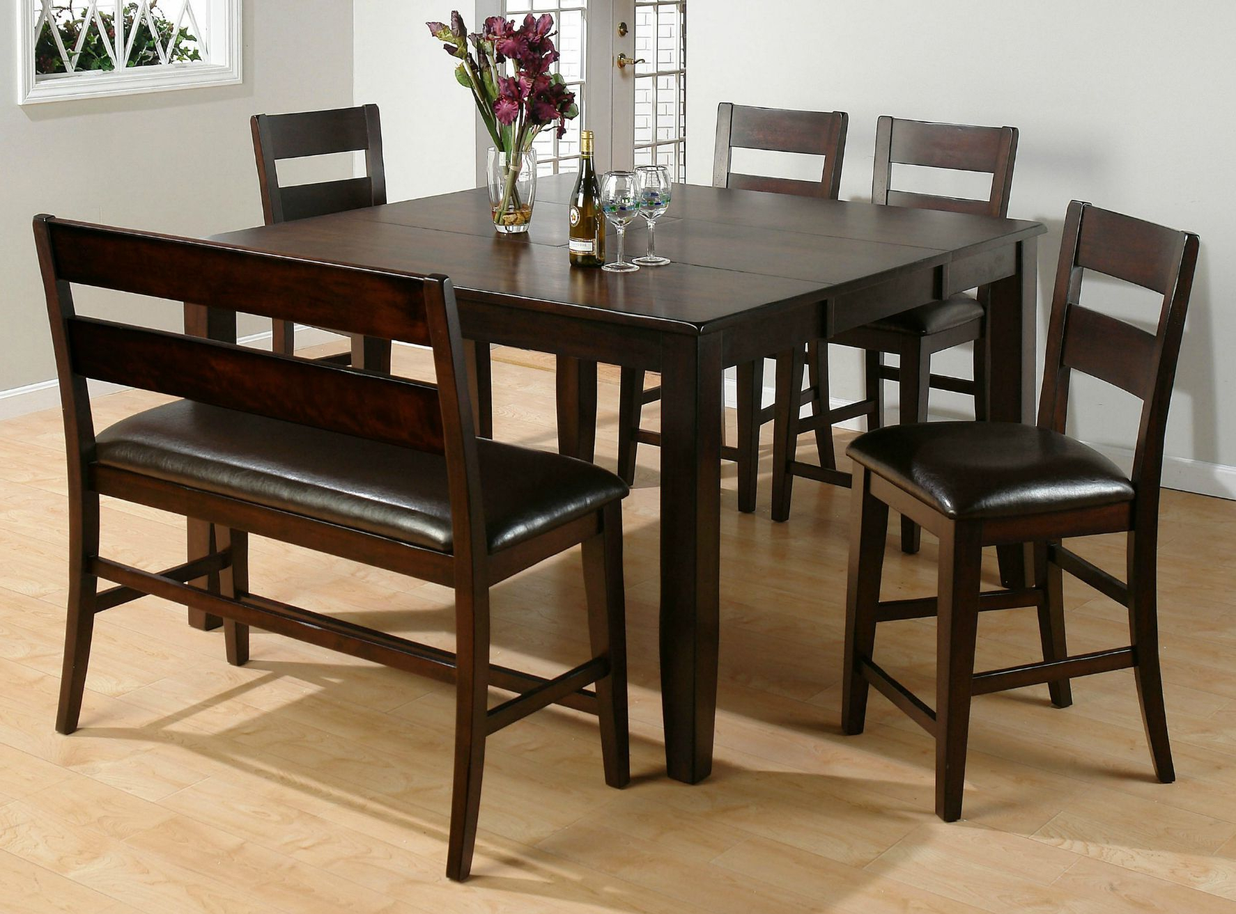 Fashionable Transitional 4 Seating Drop Leaf Casual Dining Tables Regarding 26 Dining Room Sets (Big And Small) With Bench Seating ( (View 7 of 30)