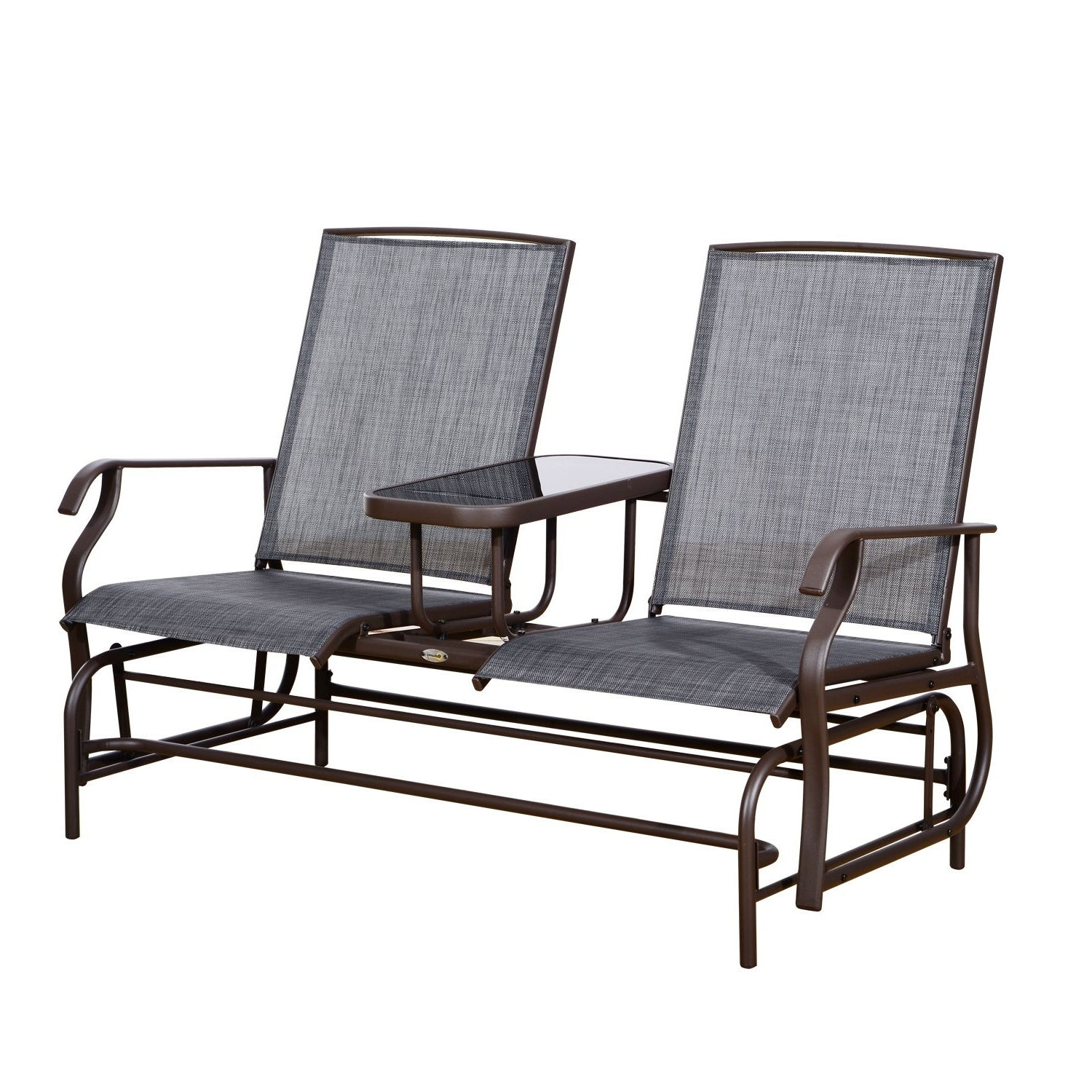 Fashionable Twin Seat Glider Benches Within Outsunny Two Person Outdoor Mesh Fabric Patio Double Glider Chair With  Center Table (View 10 of 31)
