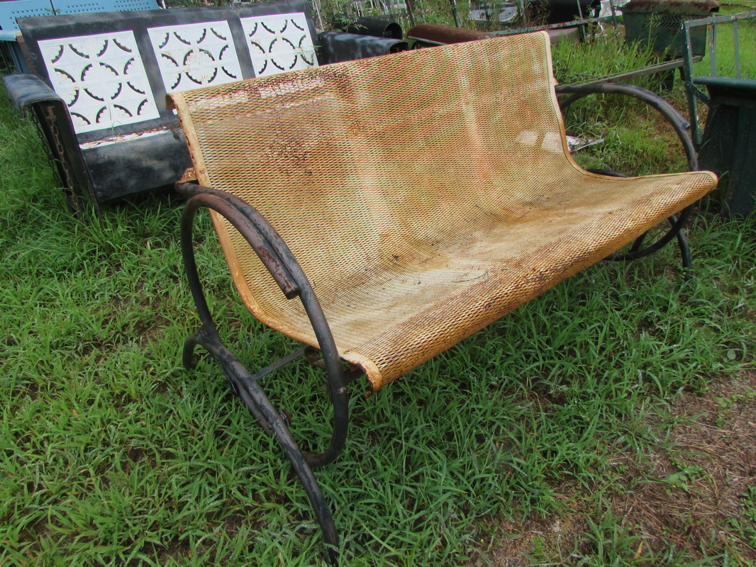 Fashionable Unrestored Metal 3Seat Vintage Porch Gliders – Vintage Metal For Metal Retro Glider Benches (Gallery 17 of 30)