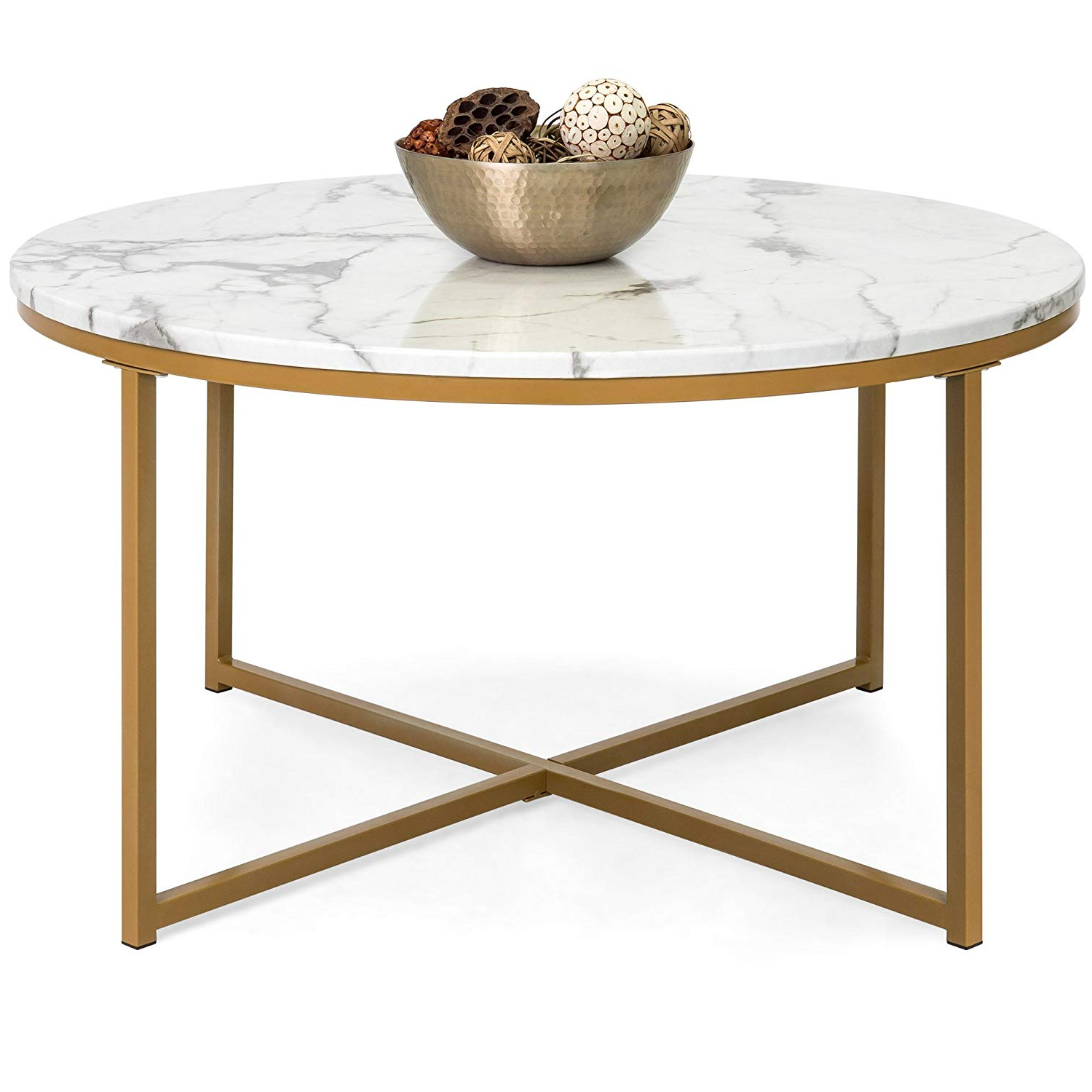 Faux Marble Finish Metal Contemporary Dining Tables Inside Best And Newest Modern Coffee Table With Gold Frame And Faux Marble Top (View 6 of 30)
