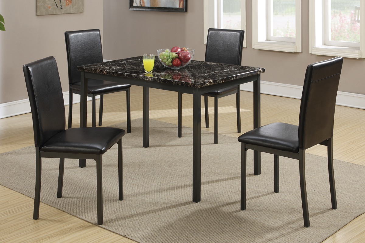 Faux Marble Finish Metal Contemporary Dining Tables Intended For Most Up To Date 5 Pcs Dining Set (Table+ 4 Chairs) F (View 7 of 30)