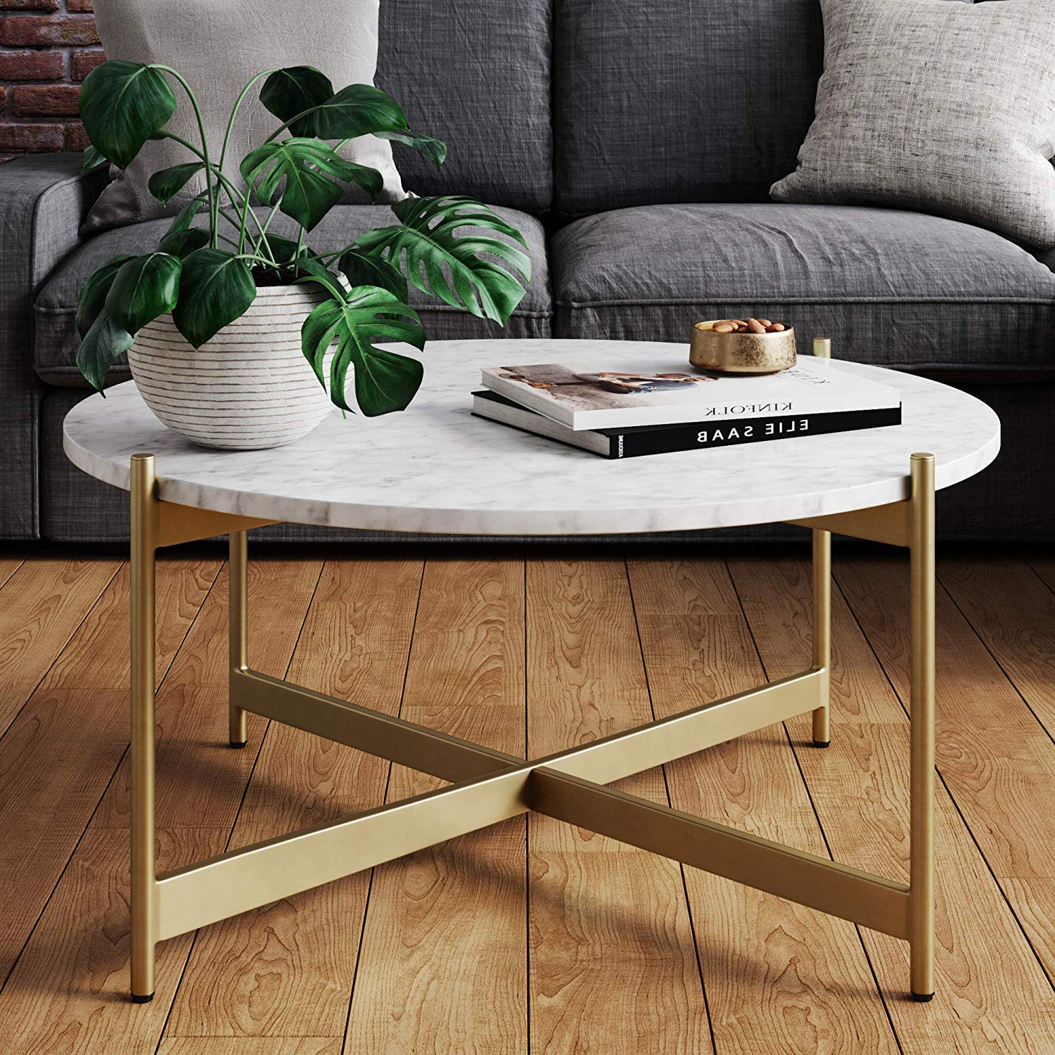 Faux Marble Finish Metal Contemporary Dining Tables With Current Nathan James Piper Faux Marble Round Modern Living Room Coffee Table With  Brass Metal Frame, Gold (Gallery 5 of 30)