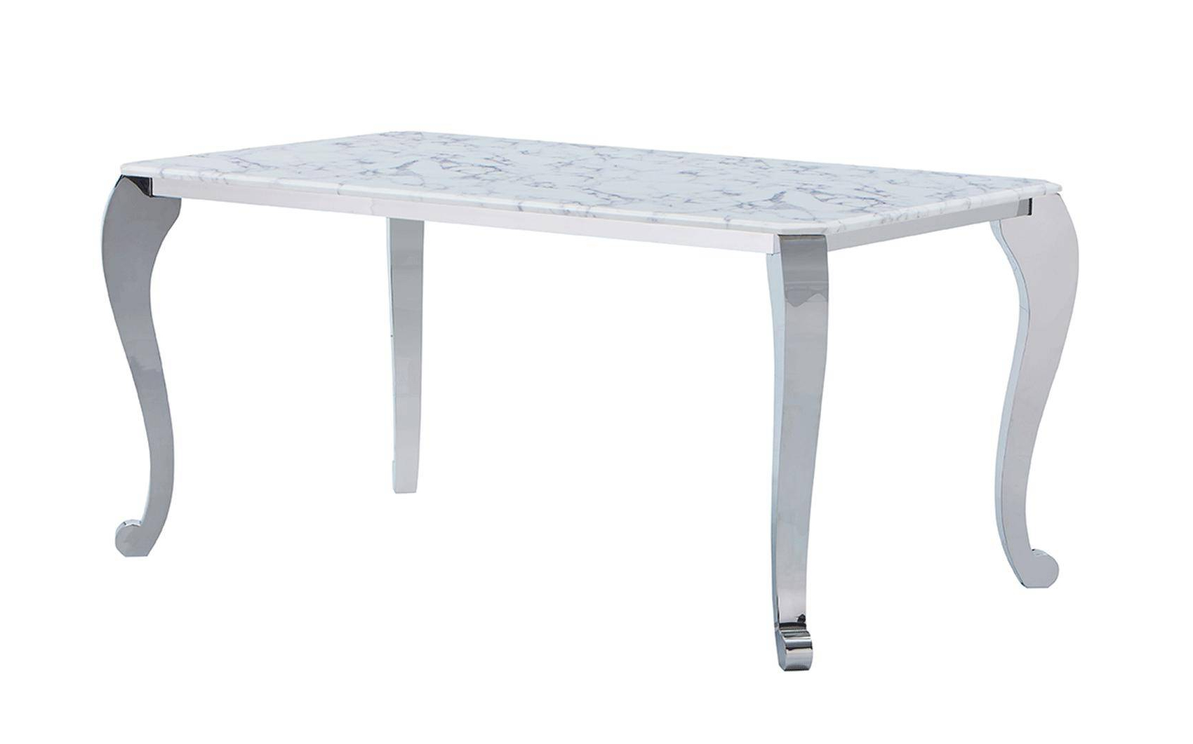 Faux Marble Finish Metal Contemporary Dining Tables With Favorite Esf 110 Dt 151 Dc Modern White Finish Marble Top Dining (View 22 of 30)