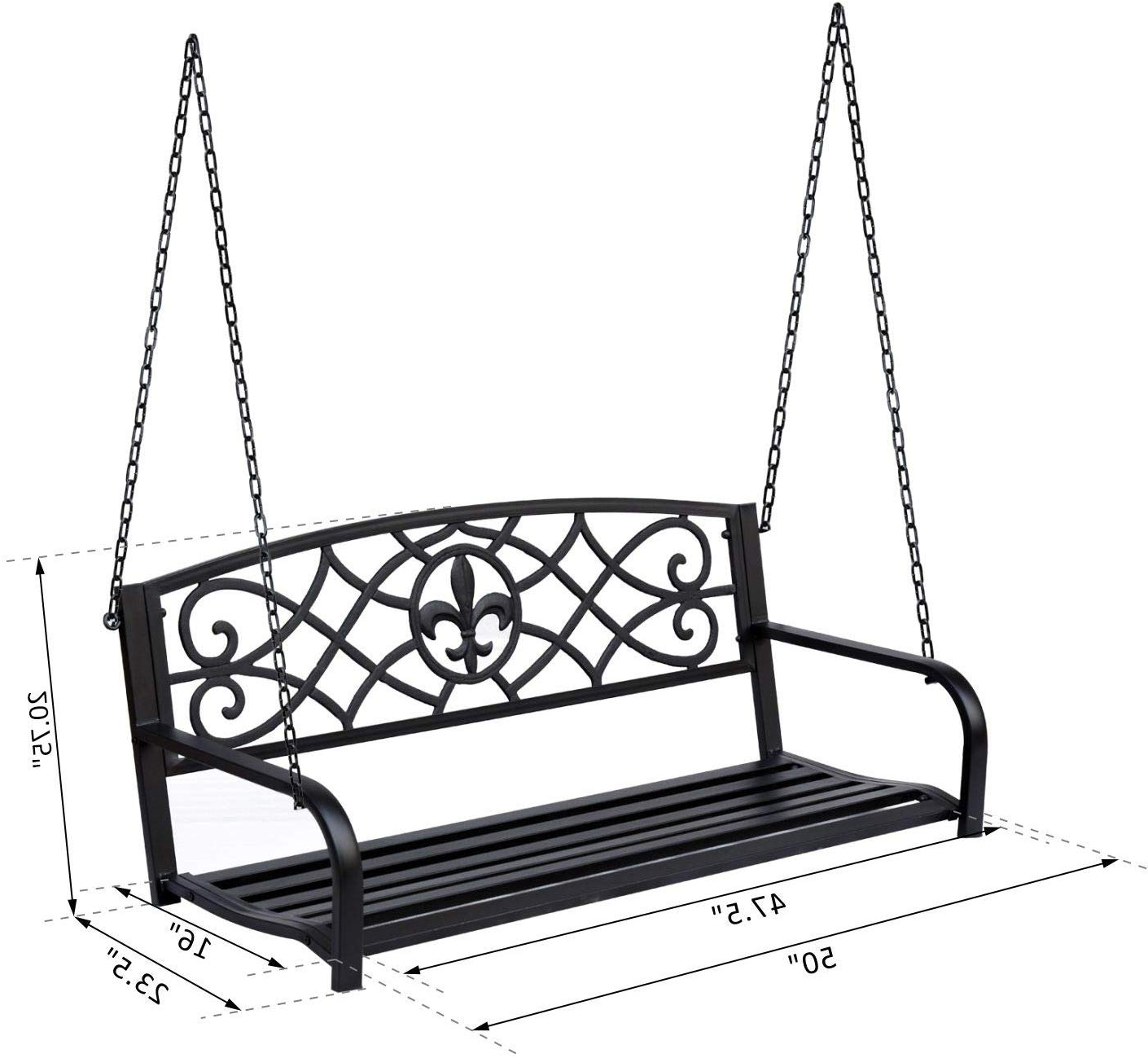 """Favorite 2 Person Antique Black Iron Outdoor Swings Intended For Outsunny 50"""" L Steel Porch Swing Fleur De Lis Garden Hanging Bench Outdoor  2 Person Glider Chair Seat W/chain Antique Style Lawn Patio W/chain Black (Gallery 4 of 30)"""