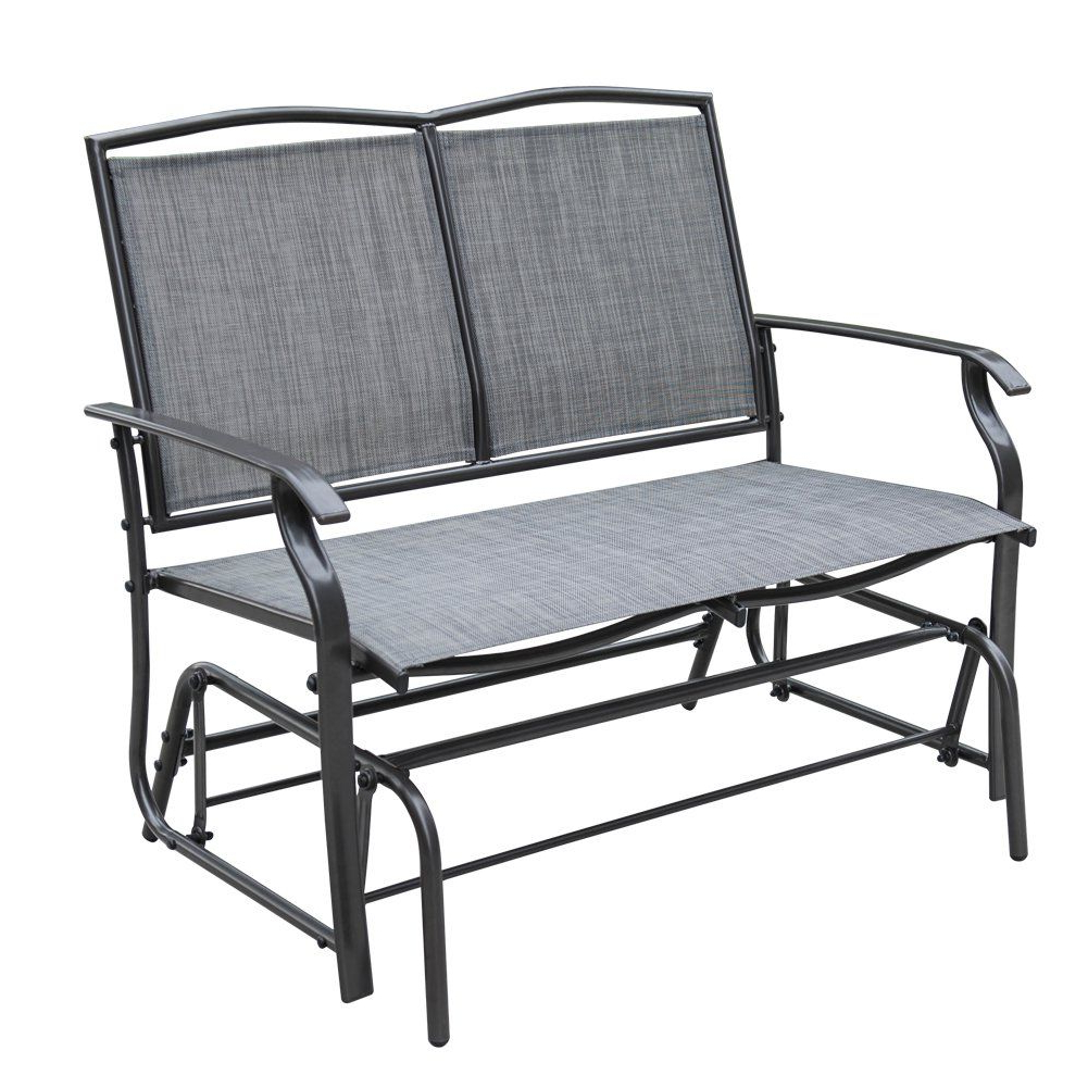 Favorite 2 Person Gray Steel Outdoor Swings Pertaining To Sundale Outdoor 2 Person Loveseat Glider Bench Chair Patio (Gallery 12 of 30)