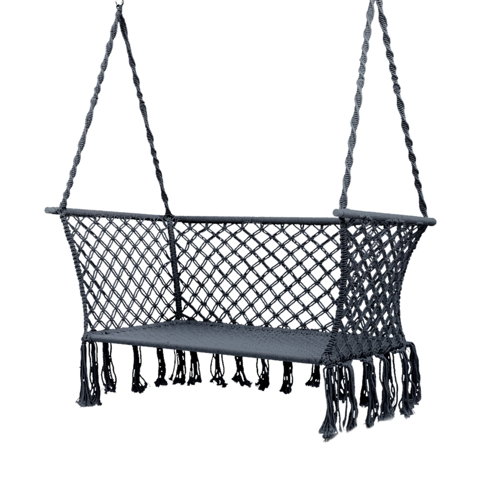 Favorite 2 Person Gray Steel Outdoor Swings Throughout Gardeon Camping Hammock Chair Patio 2 Person Swing Hammocks Double Portable  Rope (Gallery 26 of 30)