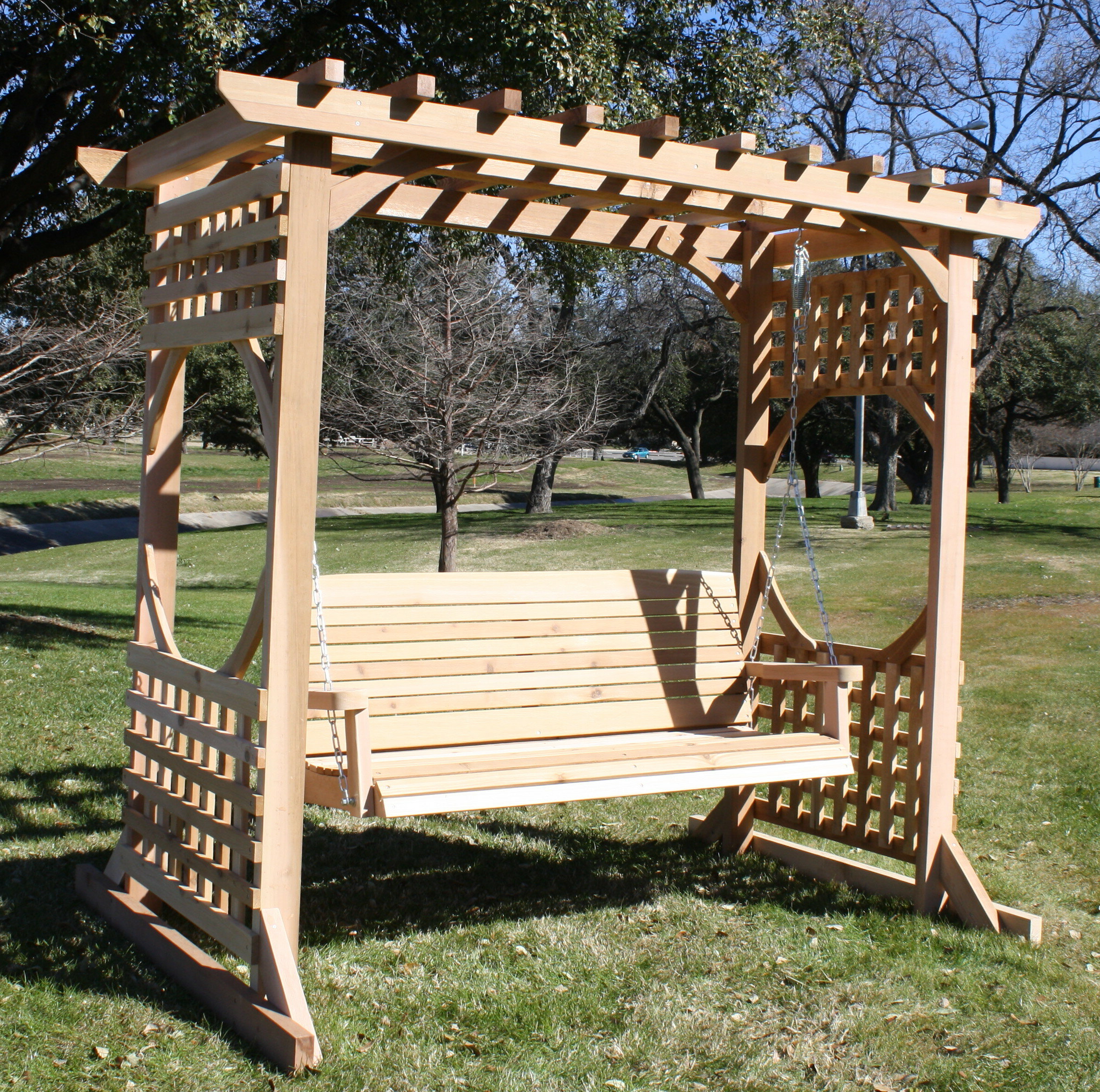 Favorite 2 Person Natural Cedar Wood Outdoor Swings For Cedar Colonial Style Arbour Swing Set – With 4 Foot Swing – Natural (Gallery 21 of 30)